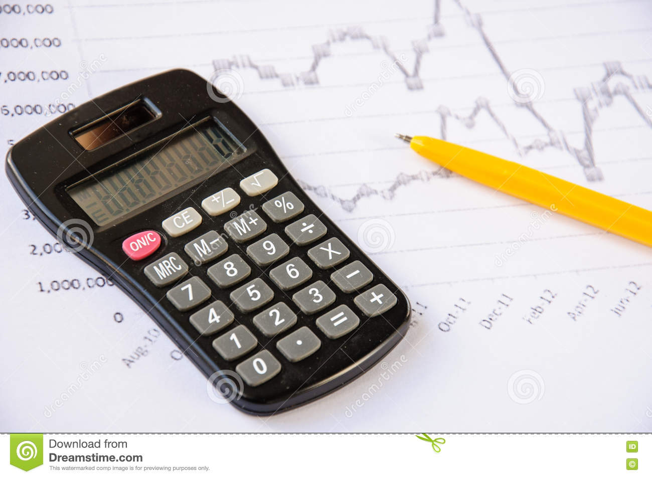 calculator on the desk pen calculations finance stock image