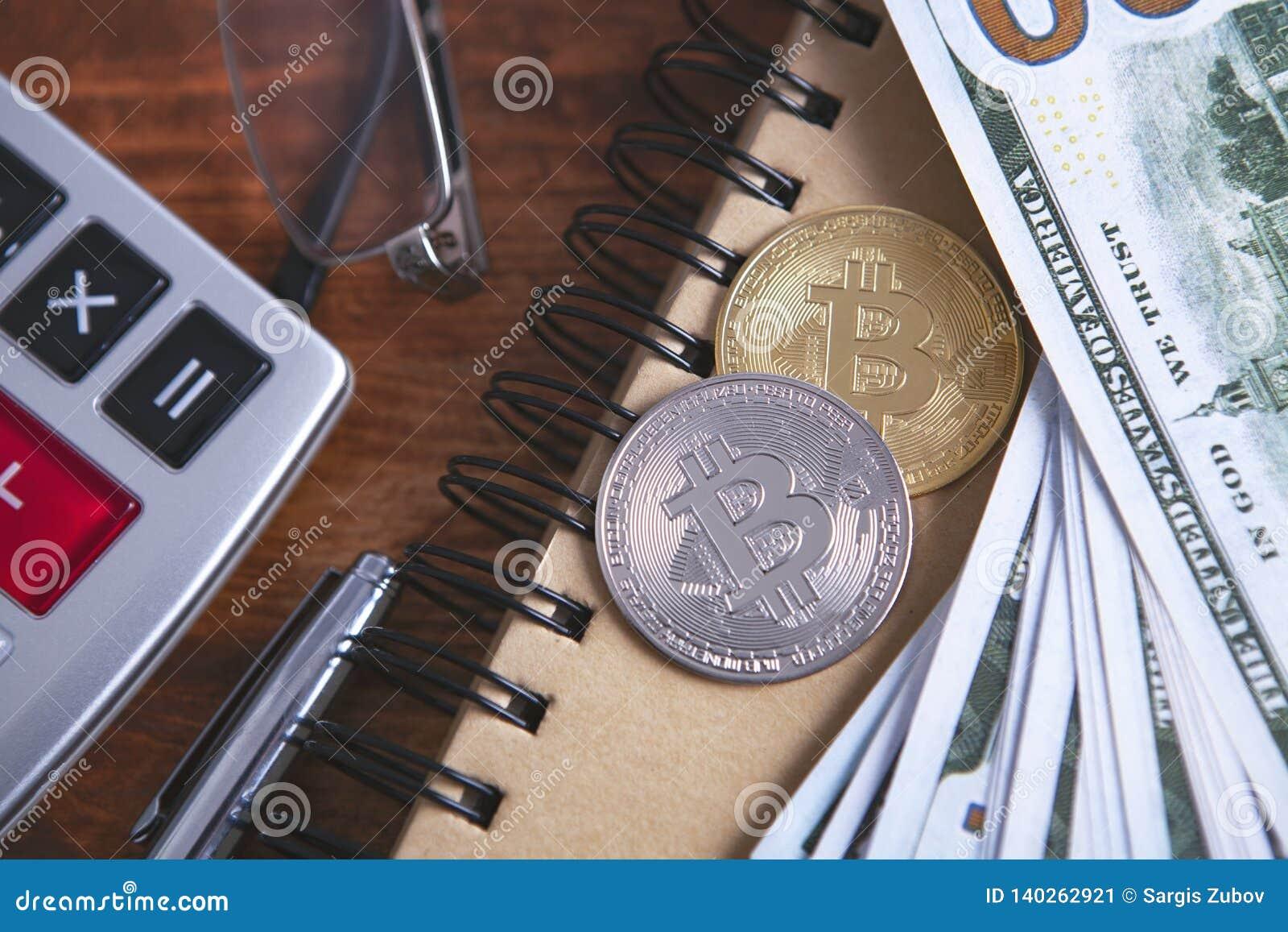 Calculator dollars bitcoin stock image. Image of balance - 140262921