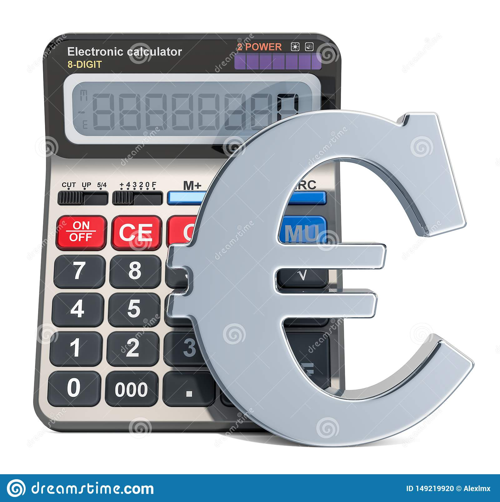 Calculator With Euro Symbol, 3D Rendering Stock Illustration