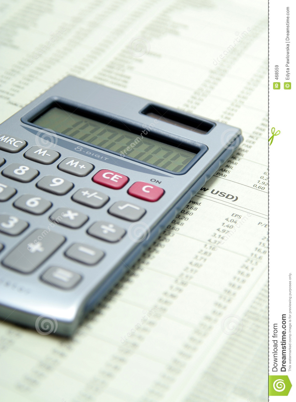 Download Calculator On Financial Paper Stock Image - Image of maths, market: 468559