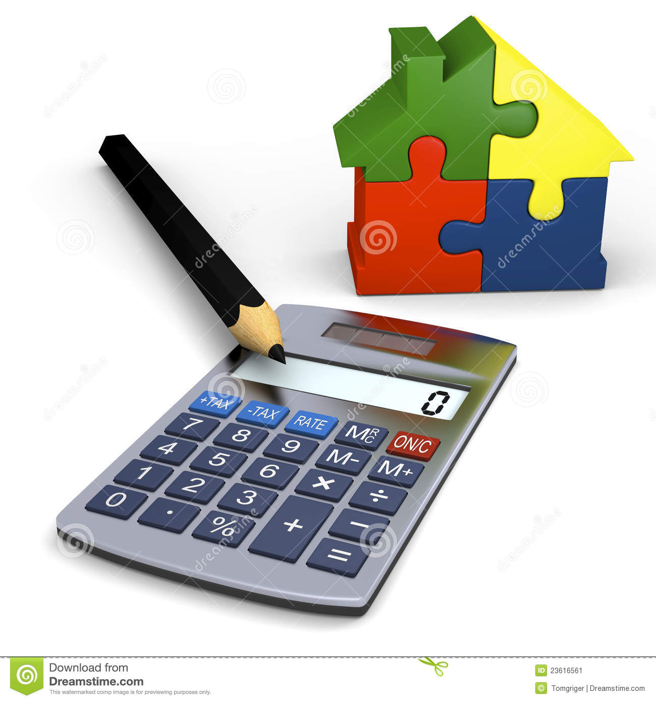 Calculator with house symbol stock illustration image for Building a home calculator