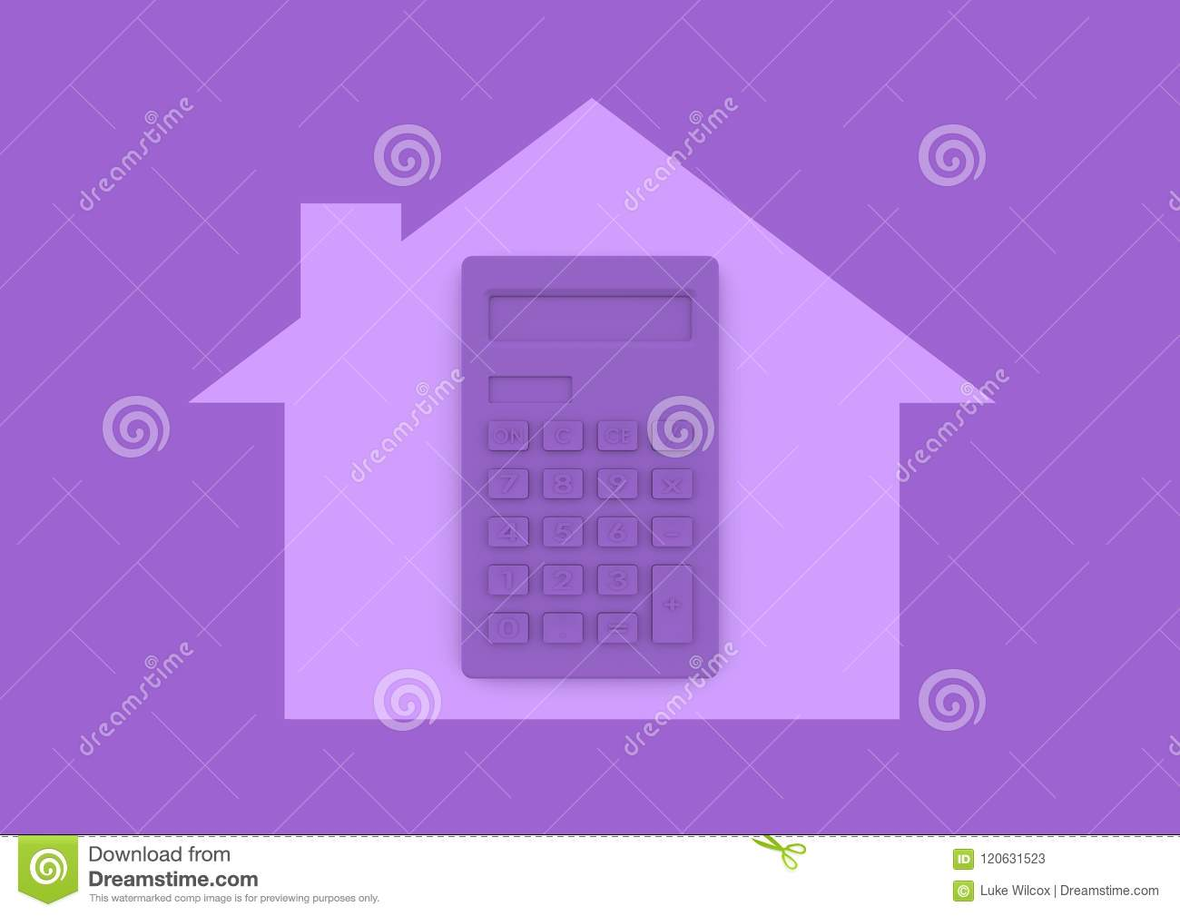 Calculator Inside House Home Buying And Mortgage Minimalist Conc