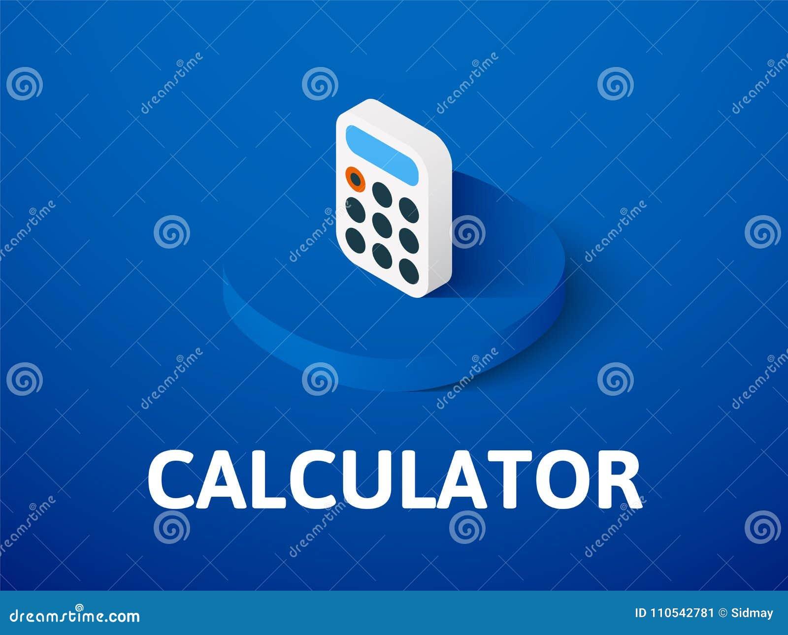 Calculator isometrisch pictogram, dat op kleurenachtergrond wordt geïsoleerd