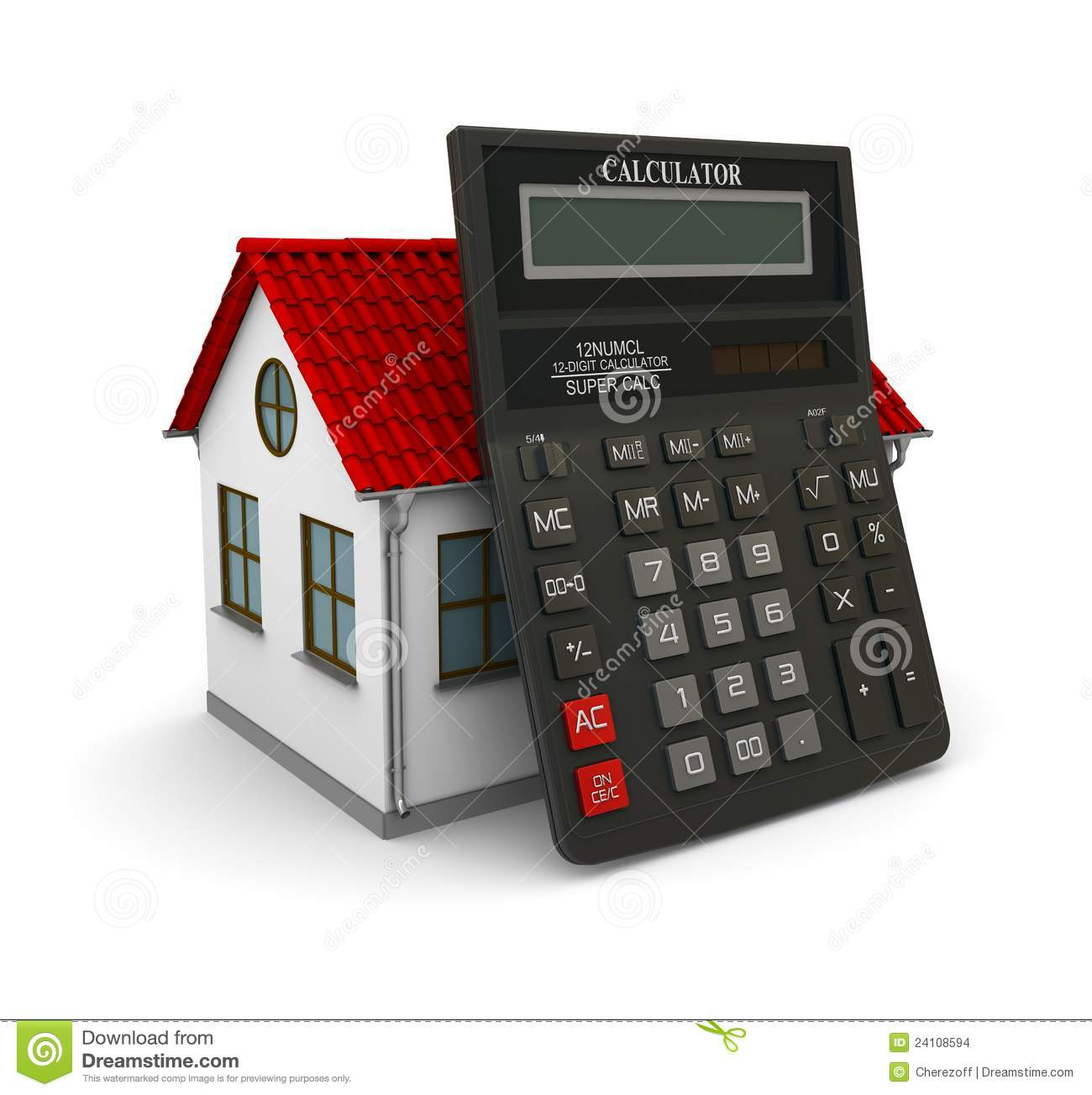 Calculator leaned on a little house with red roof stock for Tiny house estimator