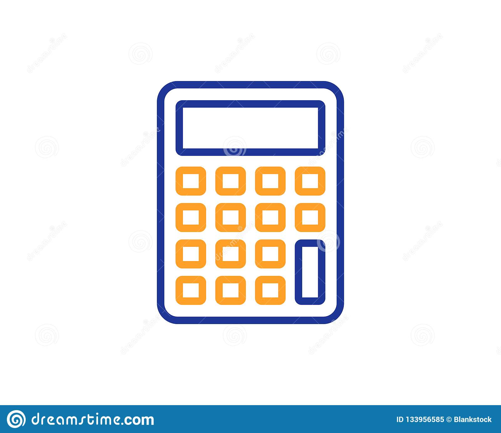 Calculator Line Icon  Accounting Sign  Vector Stock Vector