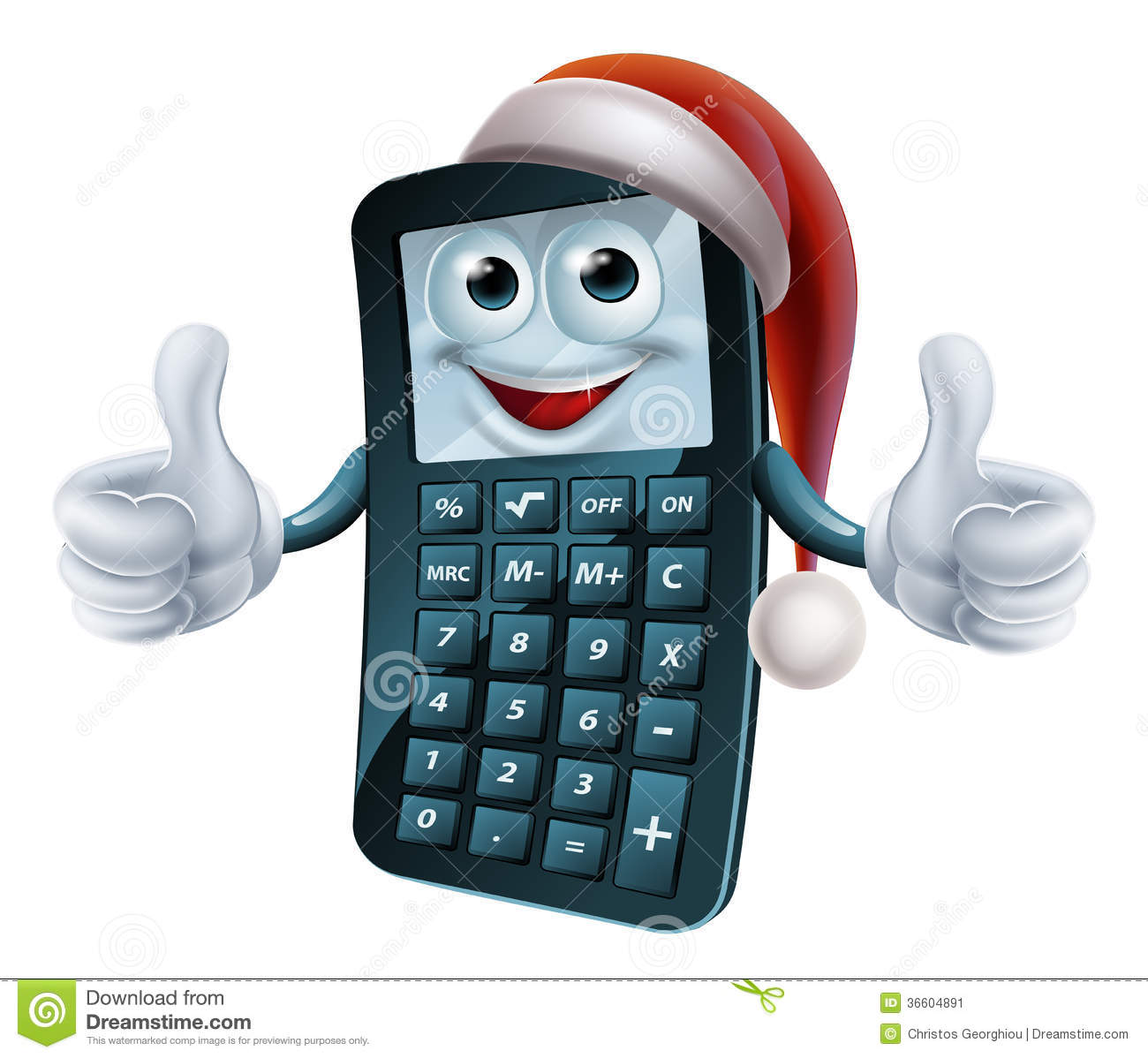 Calculator Math Christmas Character Stock Vector - Illustration of ...