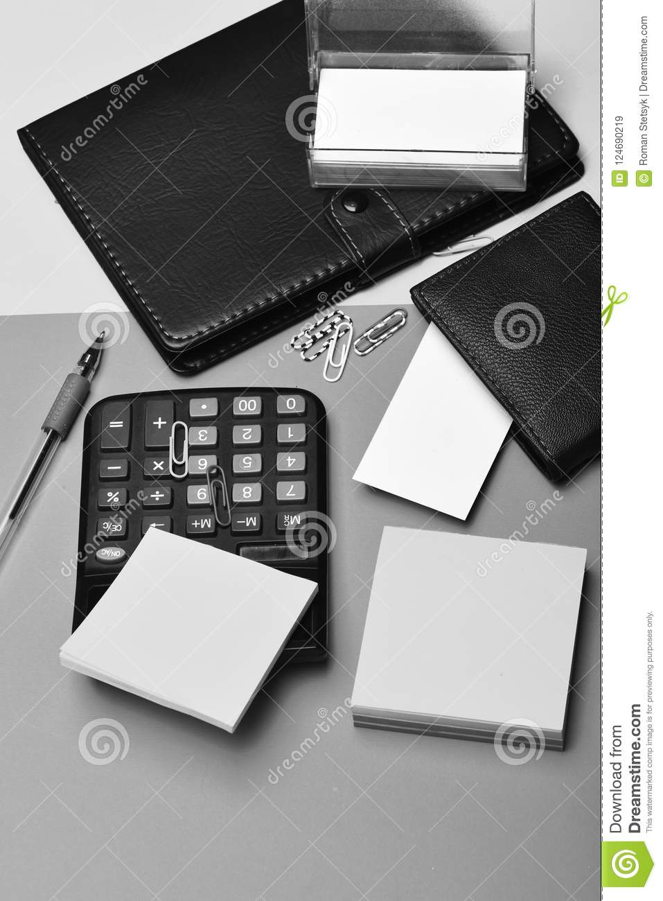 Calculator Notebook Business Card Holder Note Paper And Clips