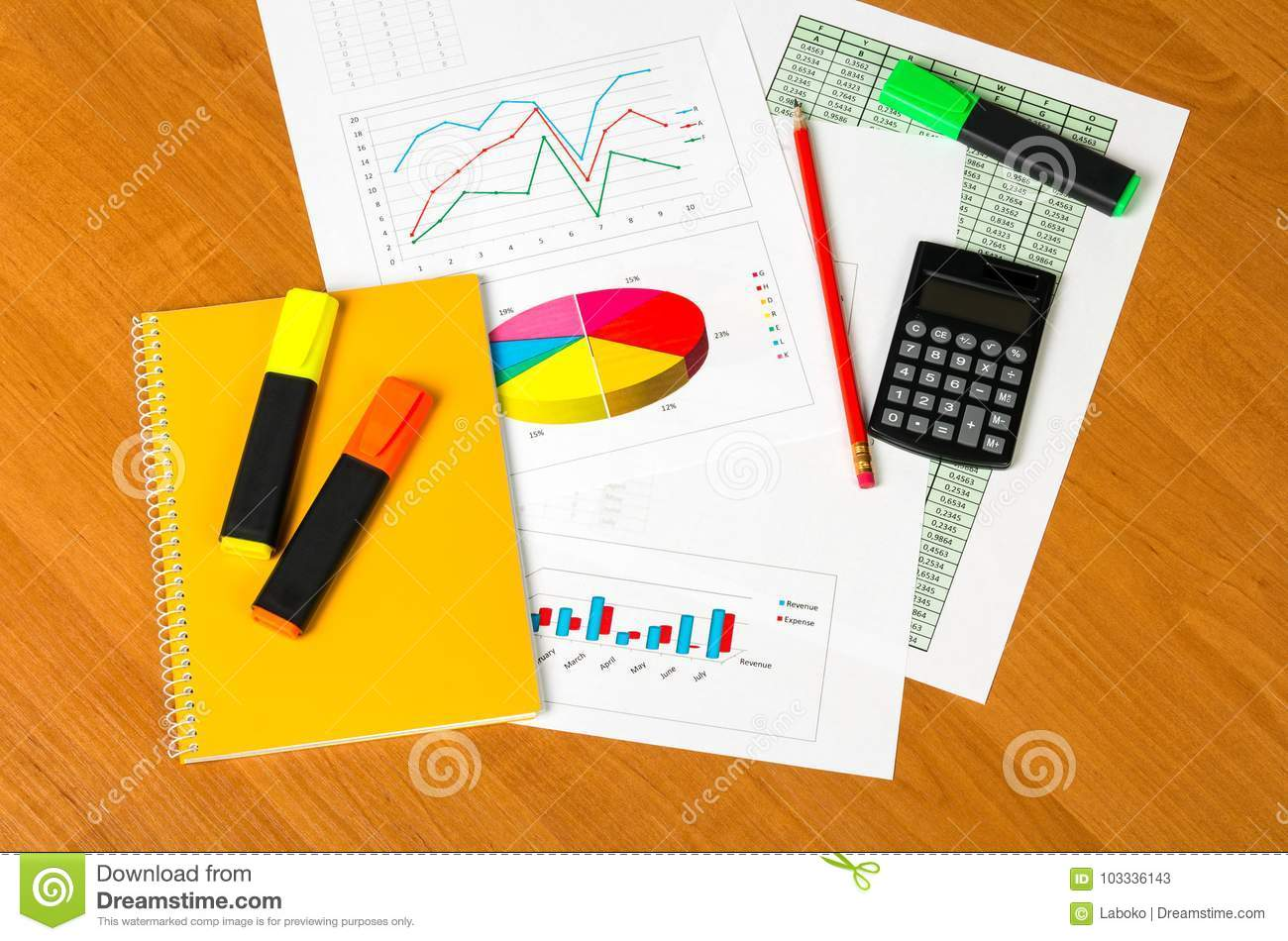 Calculator, Notepad, markers, sheets of paper with accounts and