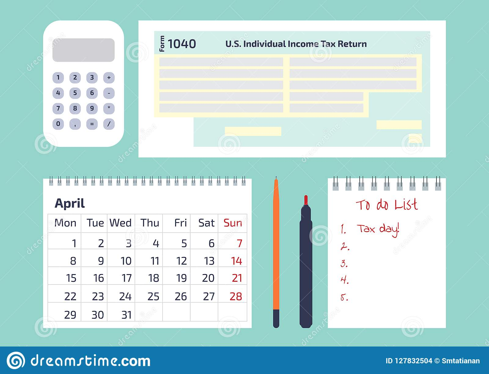 A Calculator, A Pen, A Calendar And 1040 Income Tax Form For IRS