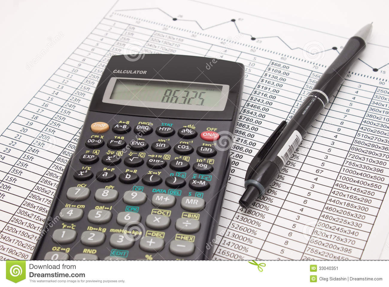 Calculator And Pen On Cash Financial Spreadsheet Stock