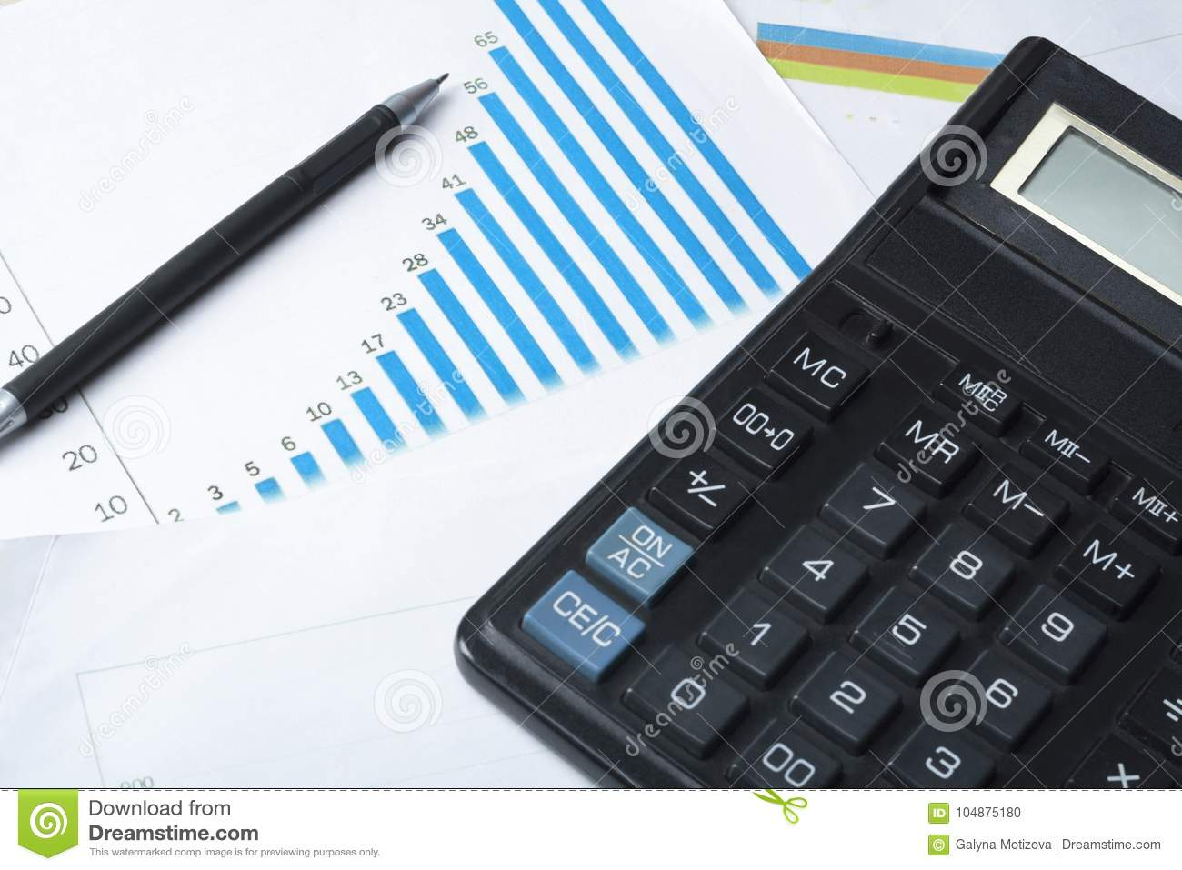 home savings budget concept calculator pen and chart on office