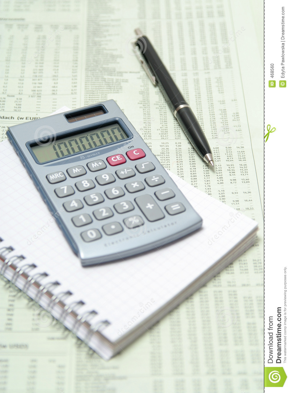 Download Calculator And Pen On Financial Paper Stock Photo - Image of business, calculator: 468560