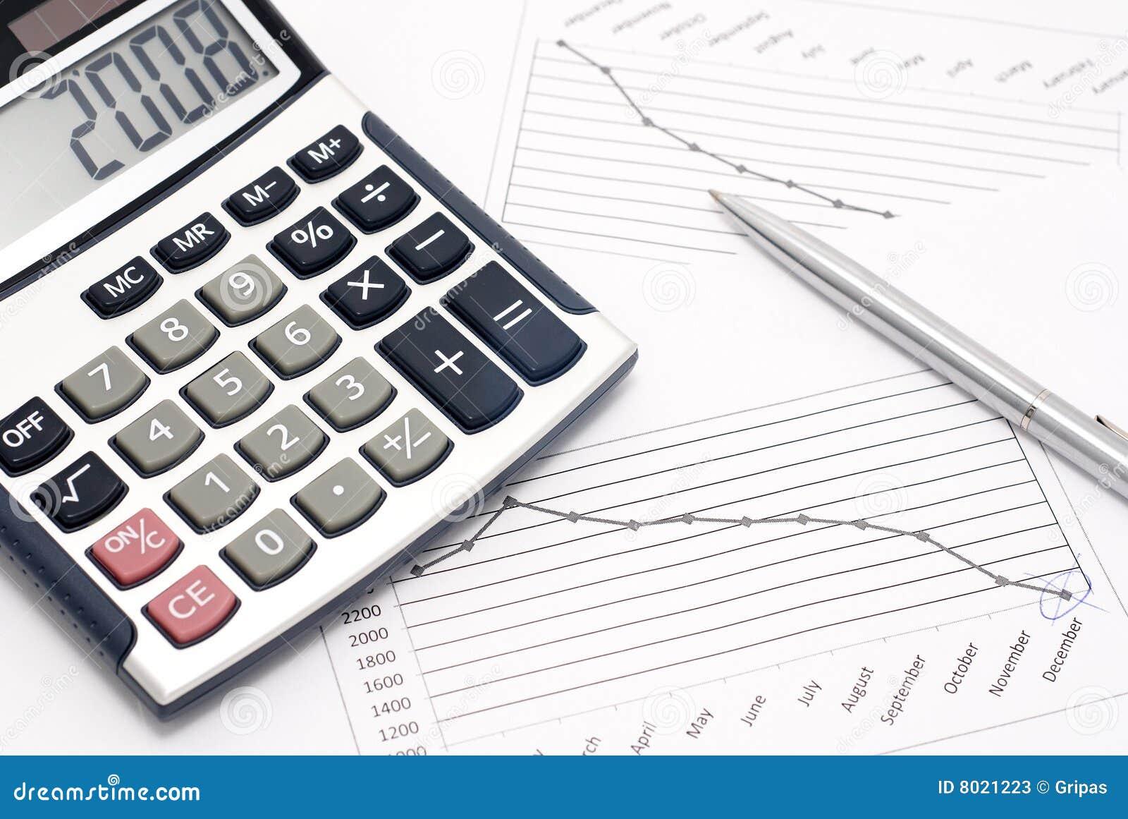 Calculator Pen And Graph Stock Photos Image 8021223