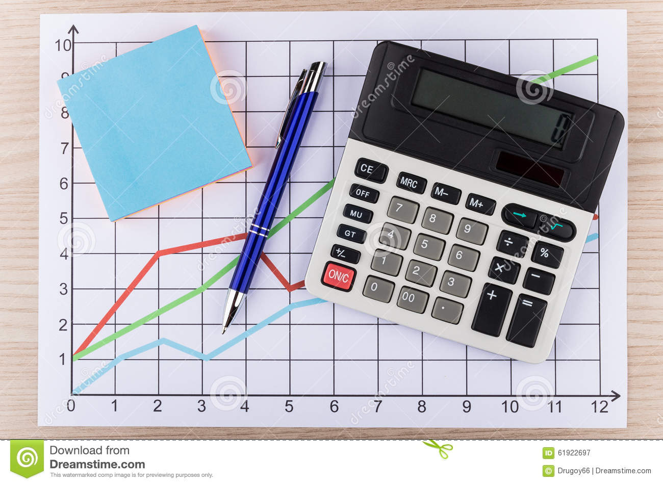calculator and pen on printouts with graph stock image image of