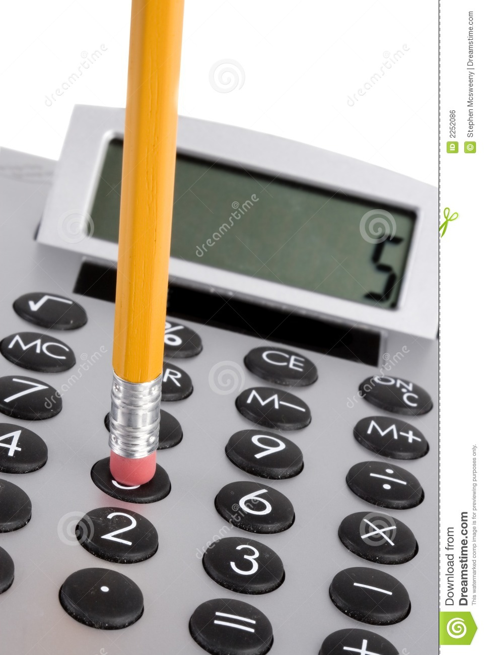 Calculator and pencil stock photo. Image of commerce ...