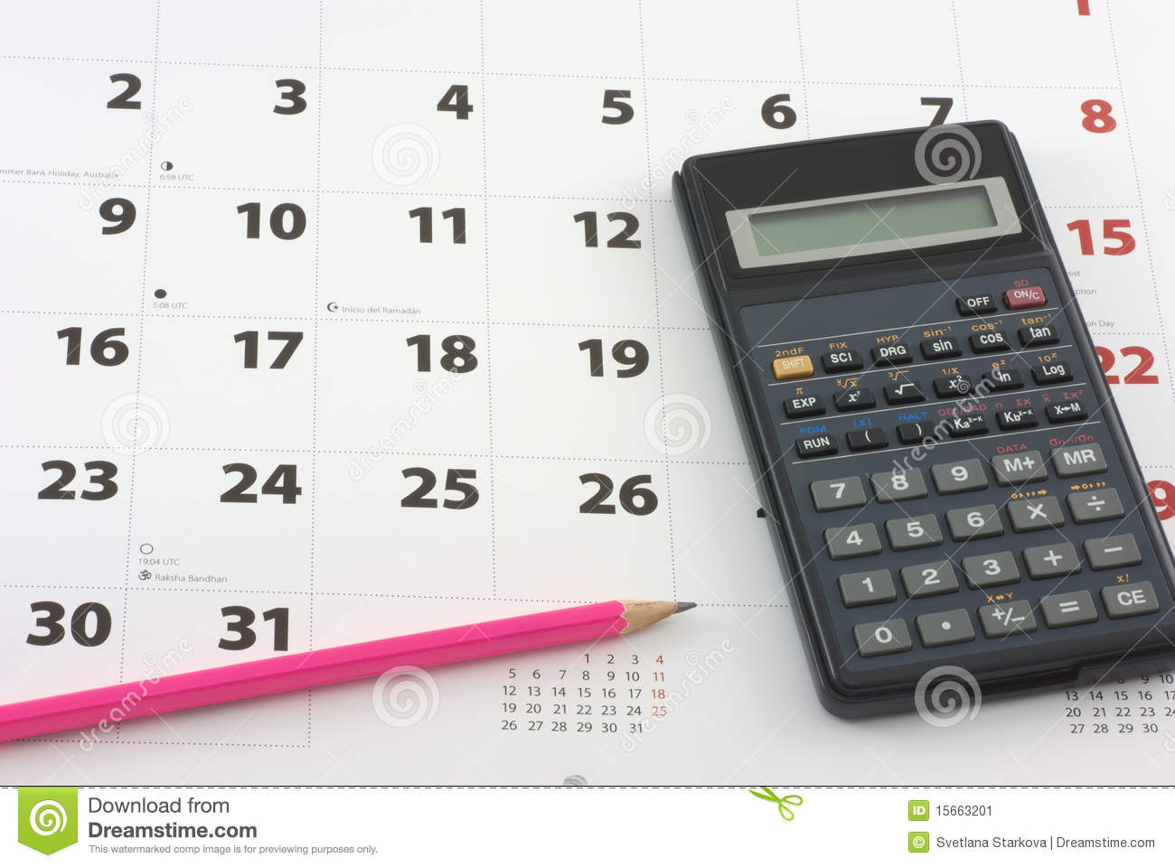 Calculator And Pencil On The Calendar Stock Image Image Of Time