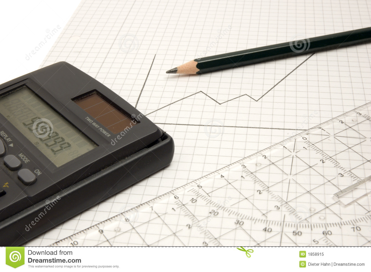 calculator pencil and ruler stock image image of hand keypad 1858915