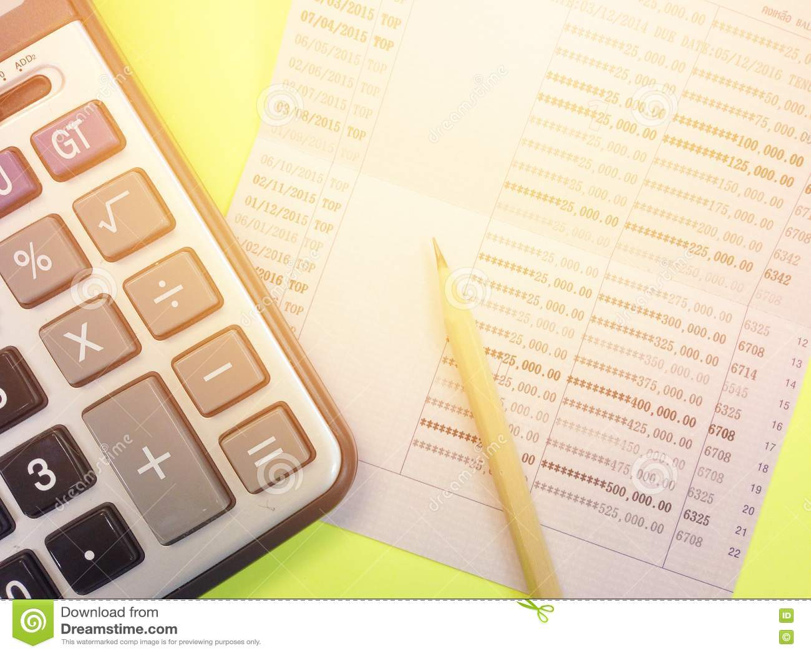 Calculator Pencil And Savings Account Passbook On Yellow – Savings Account Calculator