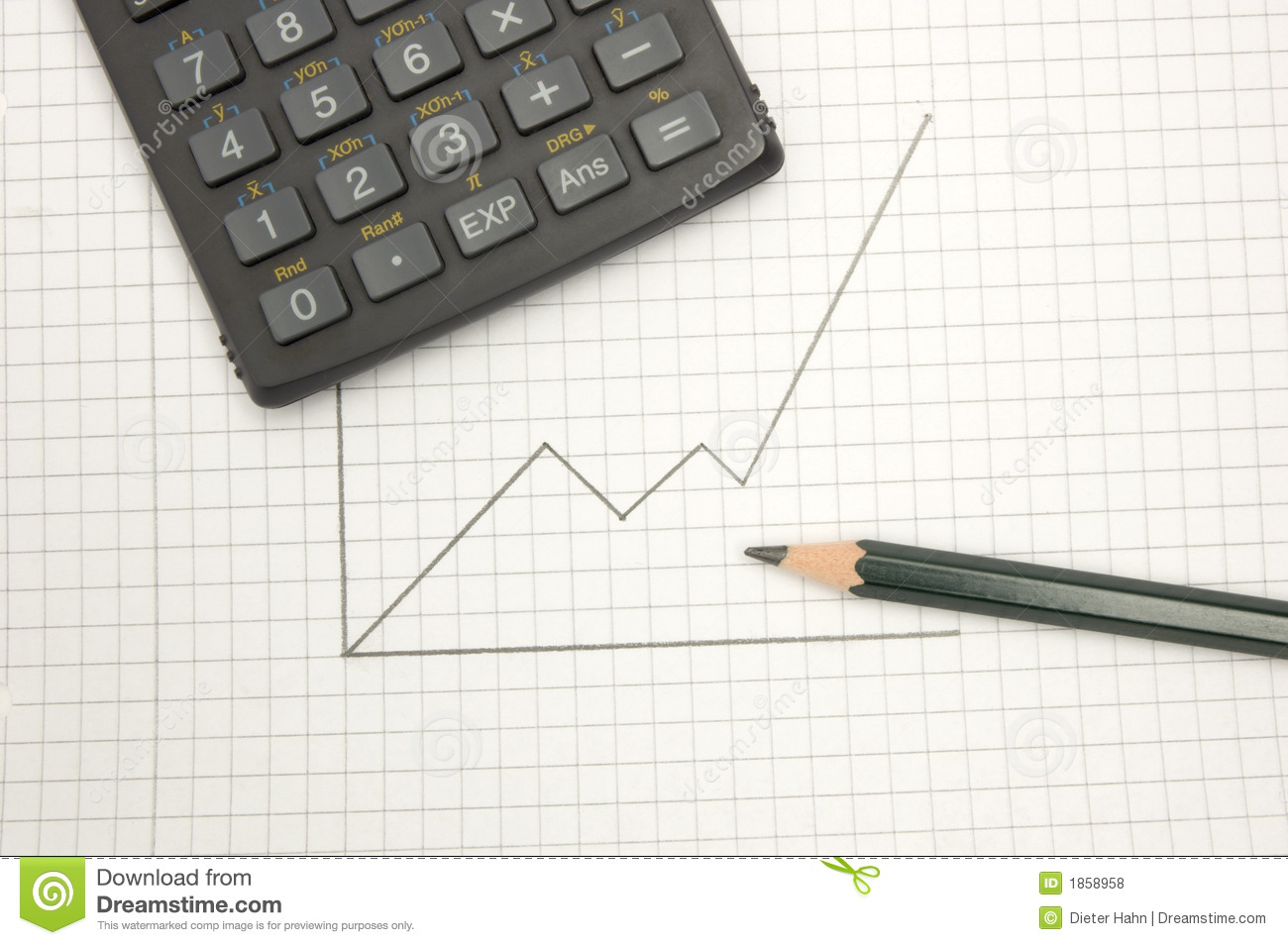 calculator and pencil on sqared paper royalty free stock