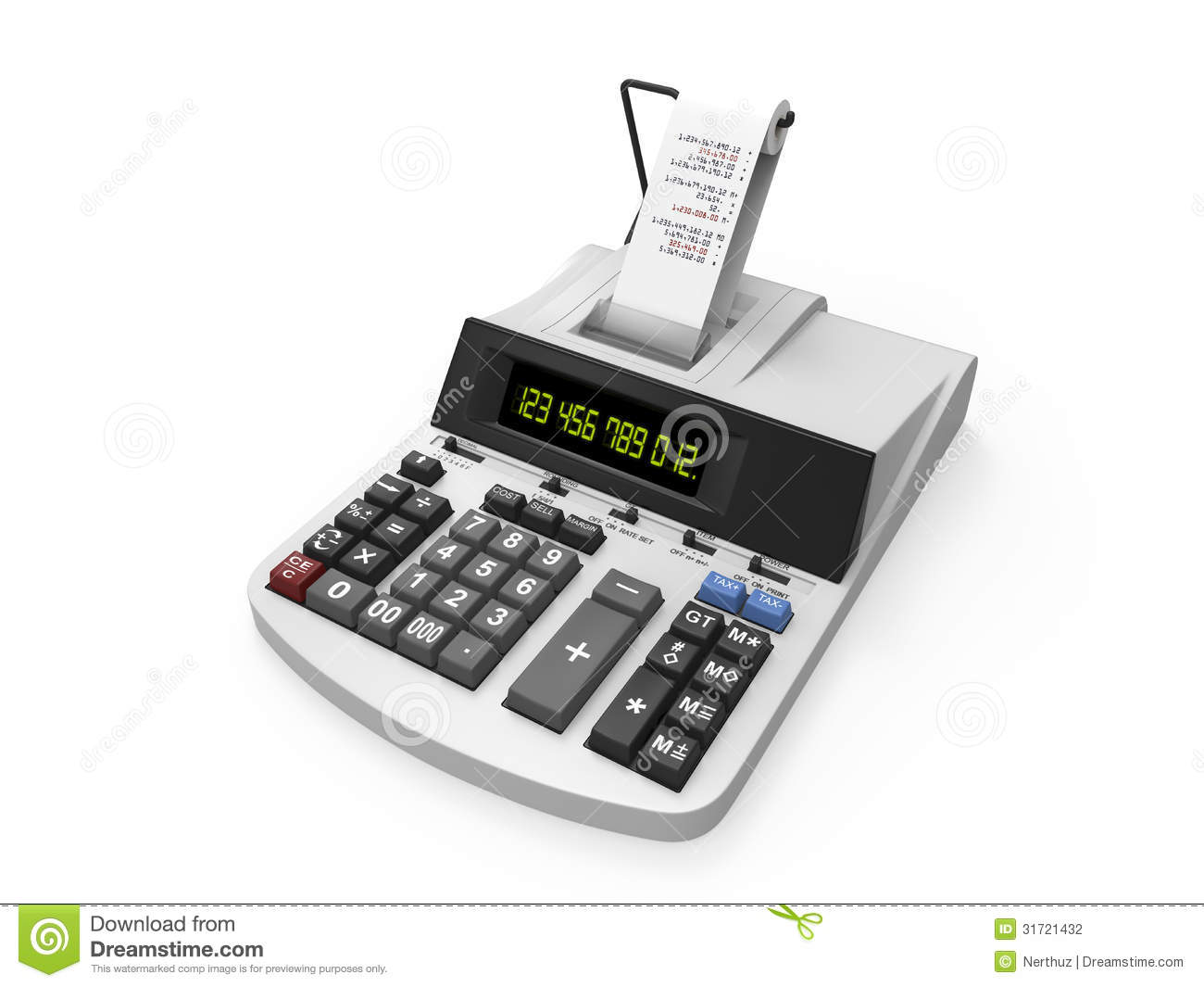 Calculator With Printed Receipt Stock Photography Image
