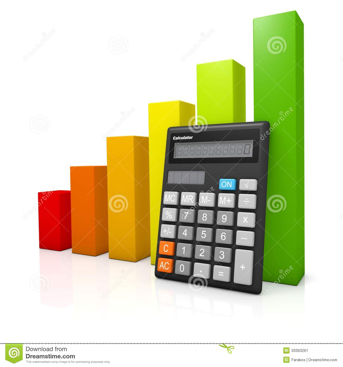 Calculator and red to green graph diagram stock illustration royalty free stock photo ccuart Images