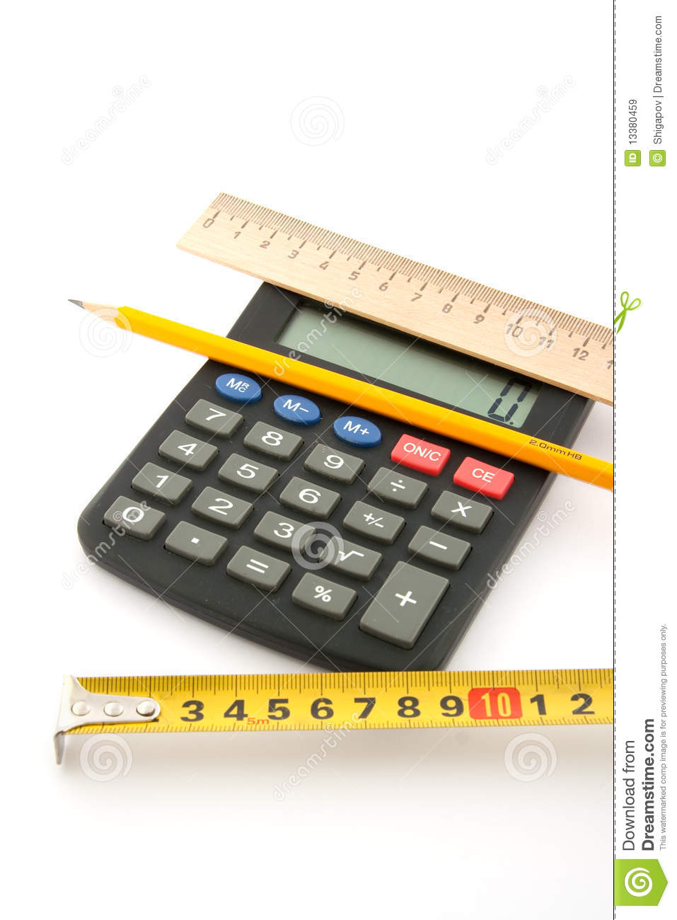 calculator  ruler and pencil royalty free stock images