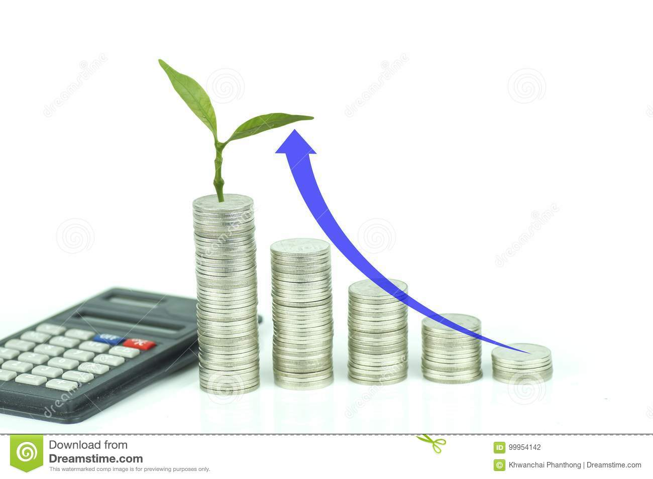 Calculator, small tree grow up and stacked of coins with arrow up on white background, concept in growth,