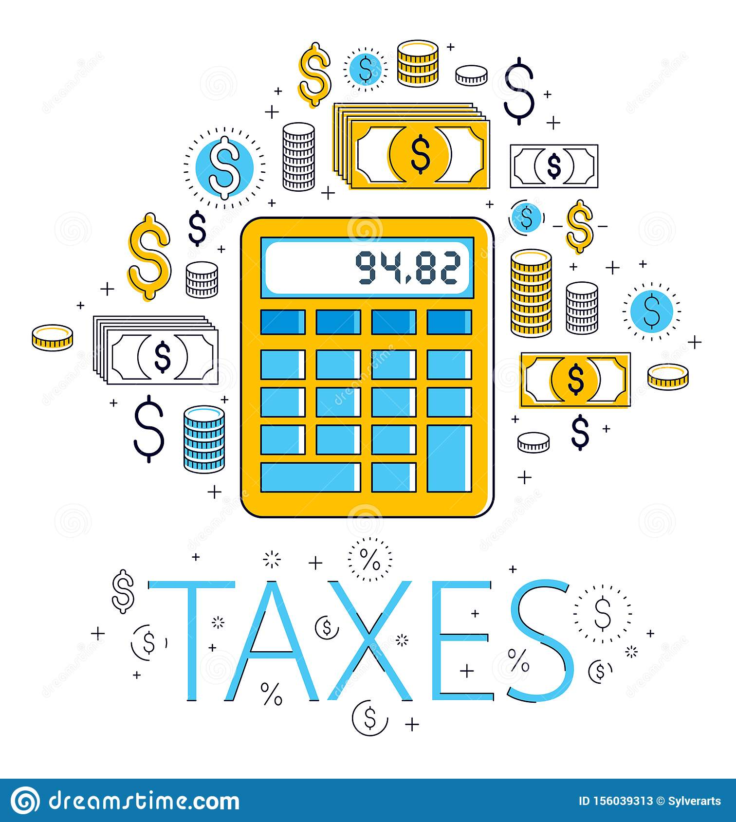 Calculator Taxes And Accounting Concept Surrounded By Financial Icon Set, Bookkeeping