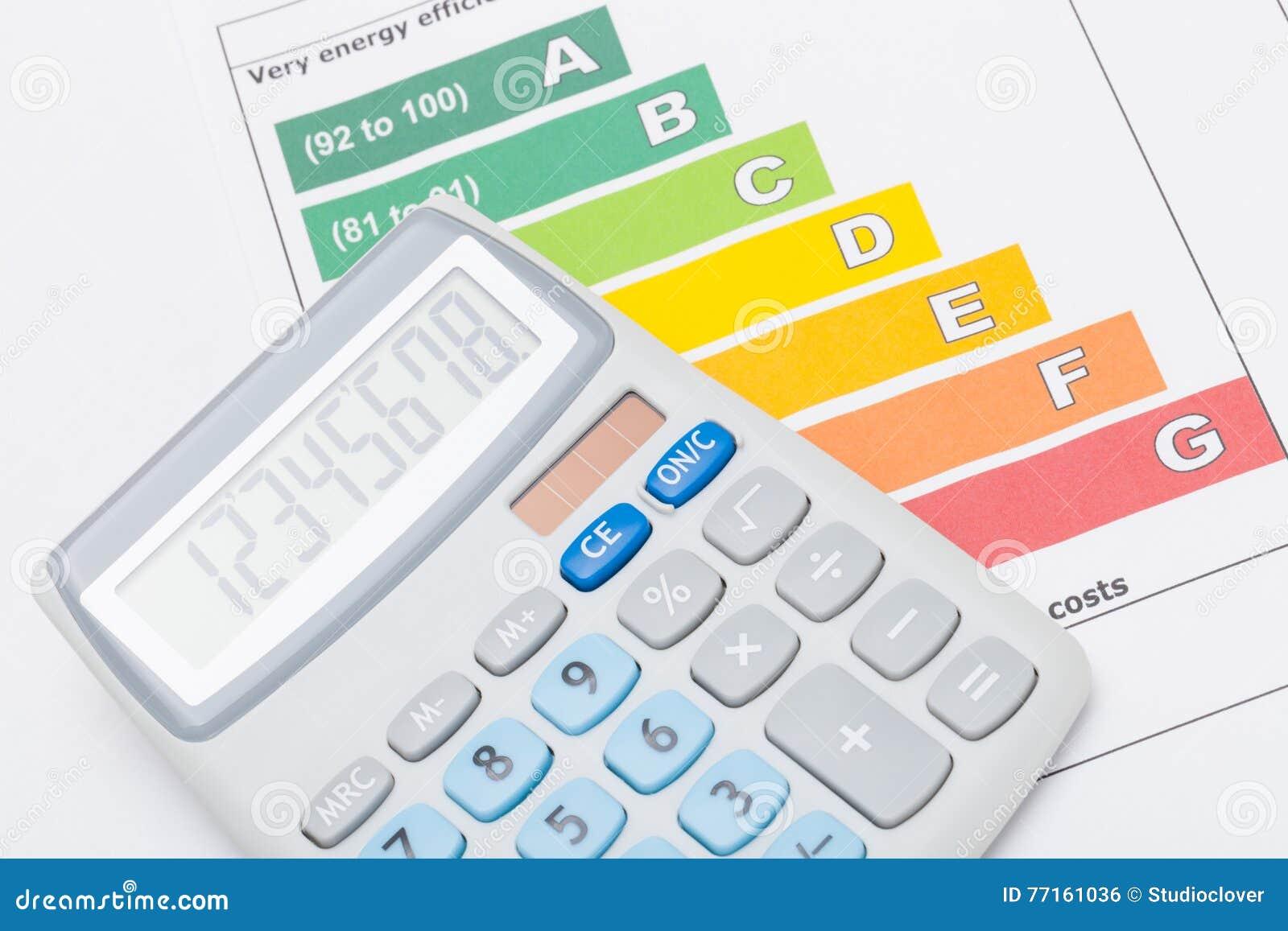 Calculatrice au-dessus de diagramme coloré de rendement énergétique