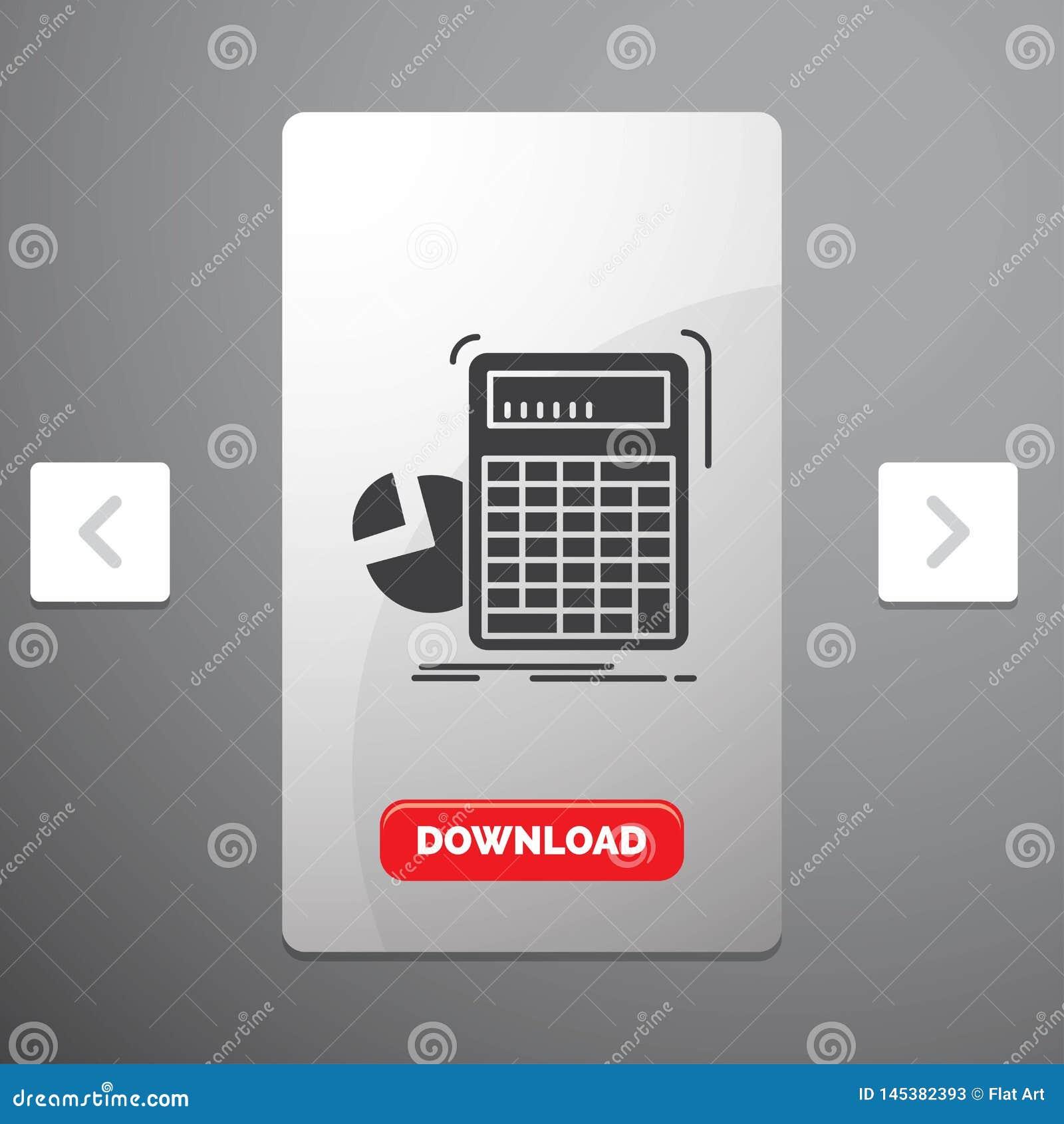 Calculatrice, calcul, maths, progrès, icône de Glyph de graphique dans la conception de glisseur de paginations de beuverie et bo