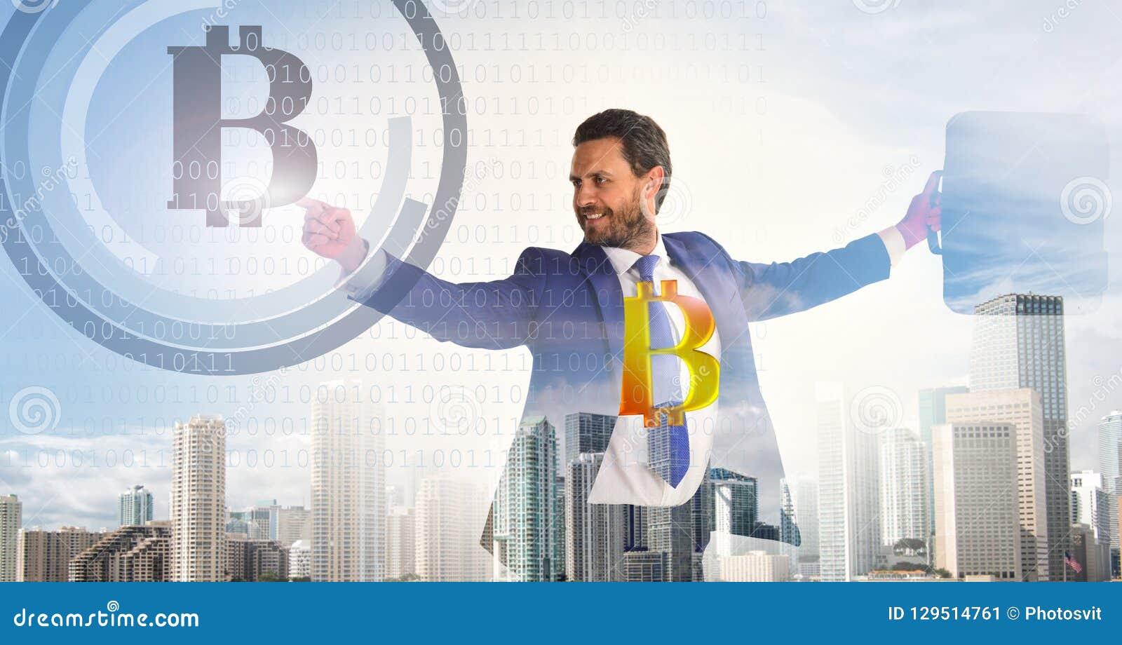 Calcule a rentabilidade da mineração do bitcoin Bitcoin cripto de superfície digital interativo da moeda do homem de negócios Neg