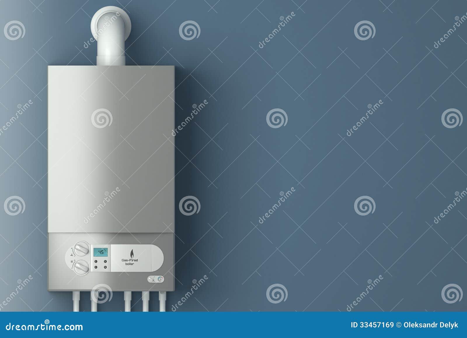 Caldera de gas casera. La instalación del equipo del gas.