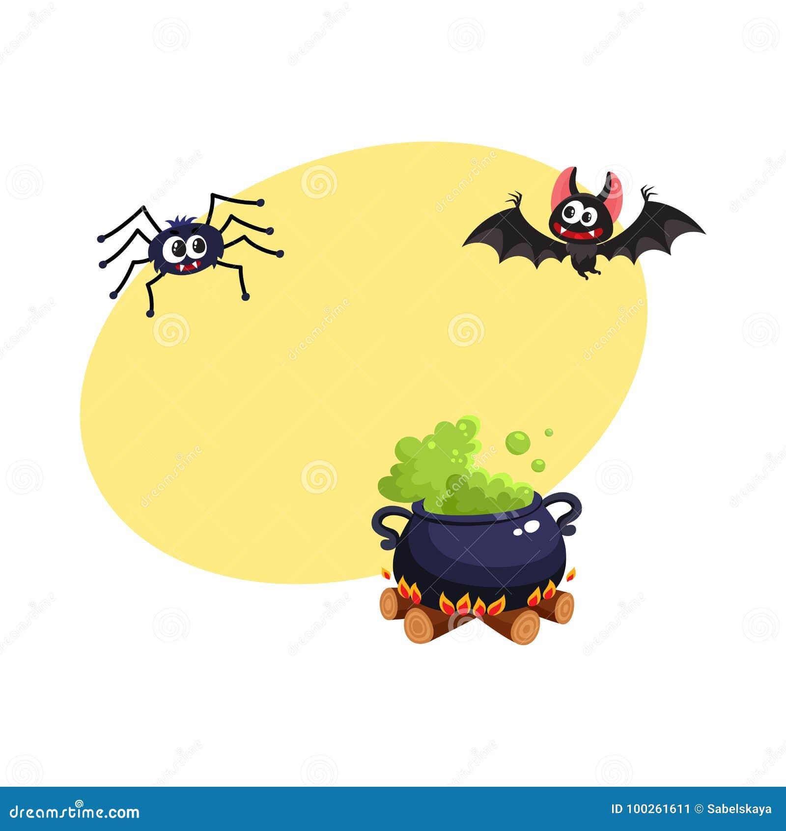 Caldron Bat And Spider Traditional Halloween Symbols Elements