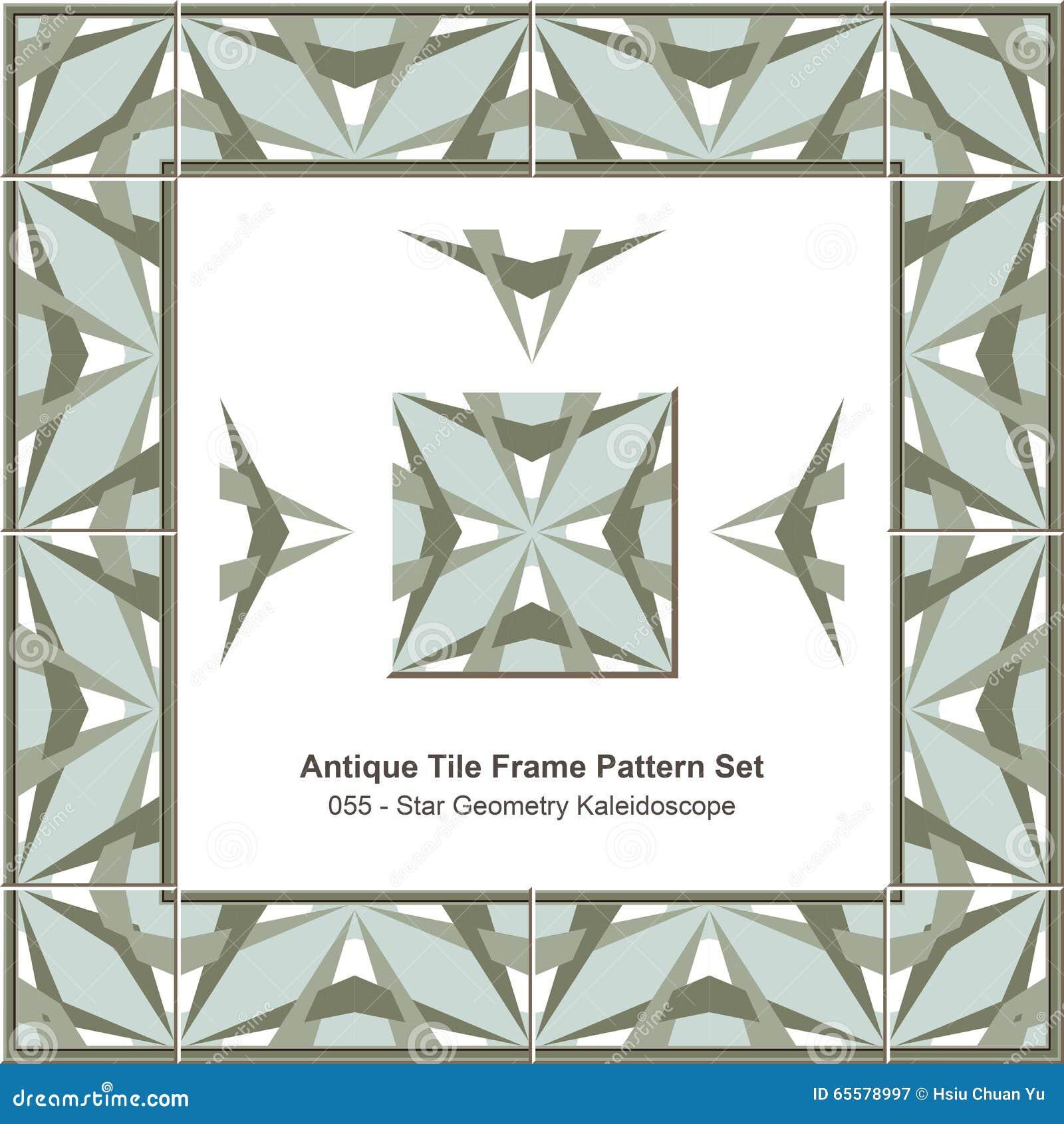 Caleidoscópio antigo da geometria da estrela do teste padrão set_055 do quadro da telha