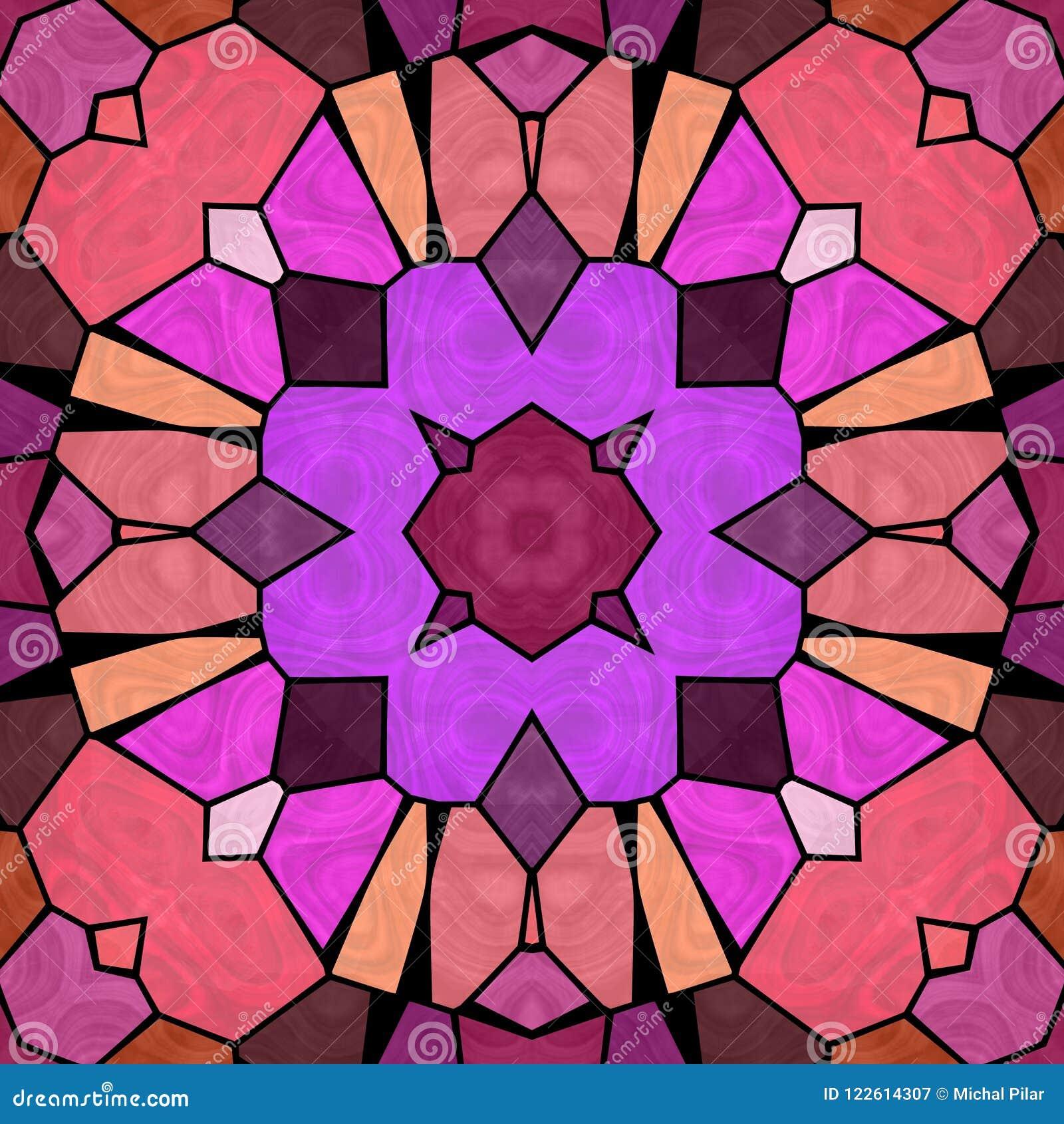 Caleidoscópio cor-de-rosa e roxo, textura sem emenda com ornamento