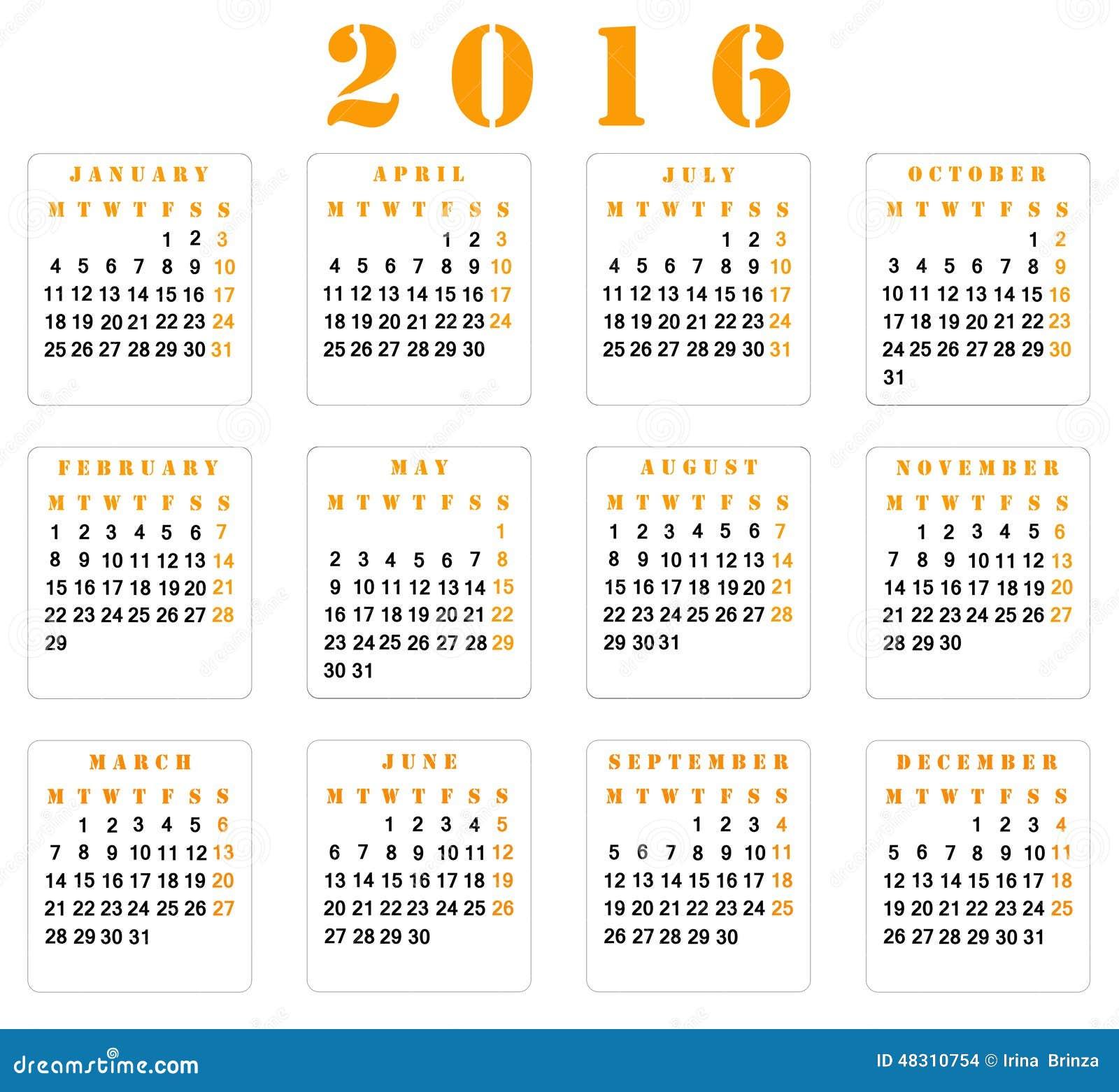 Calendário 2016 Semana