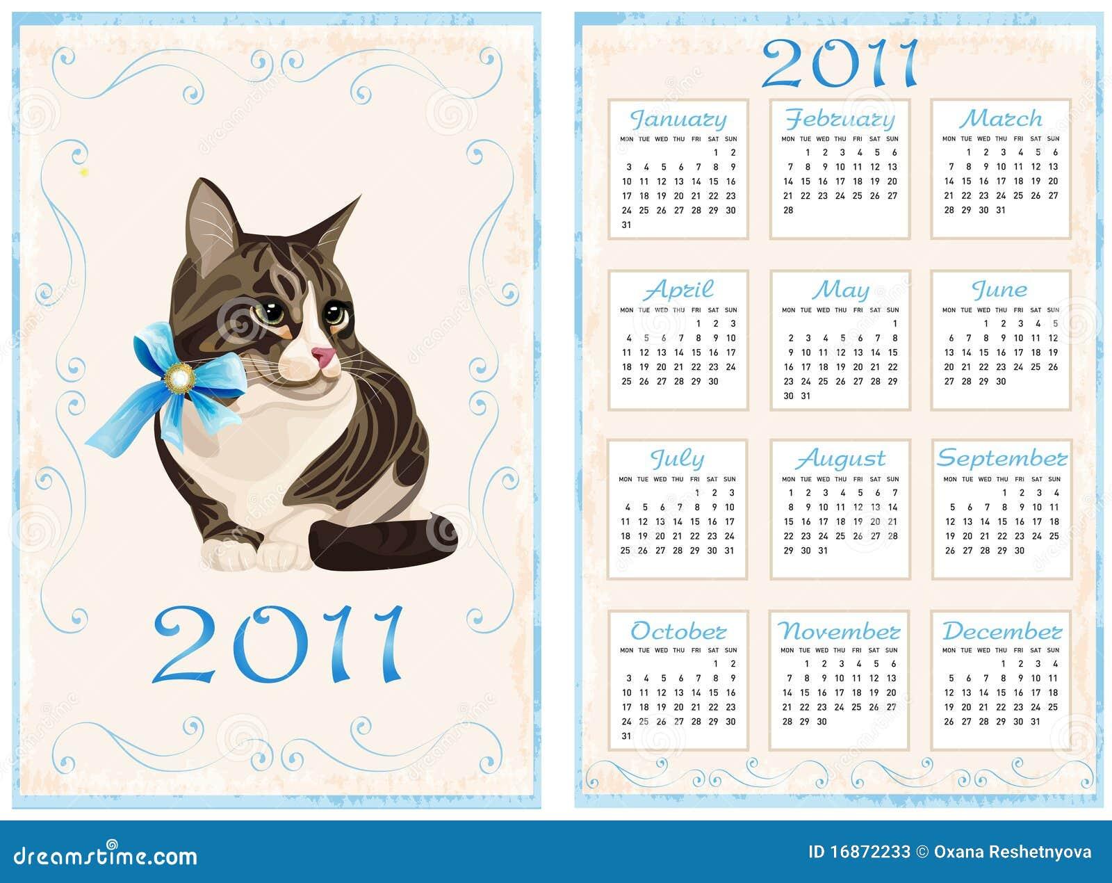 Calendário 2011 com gato