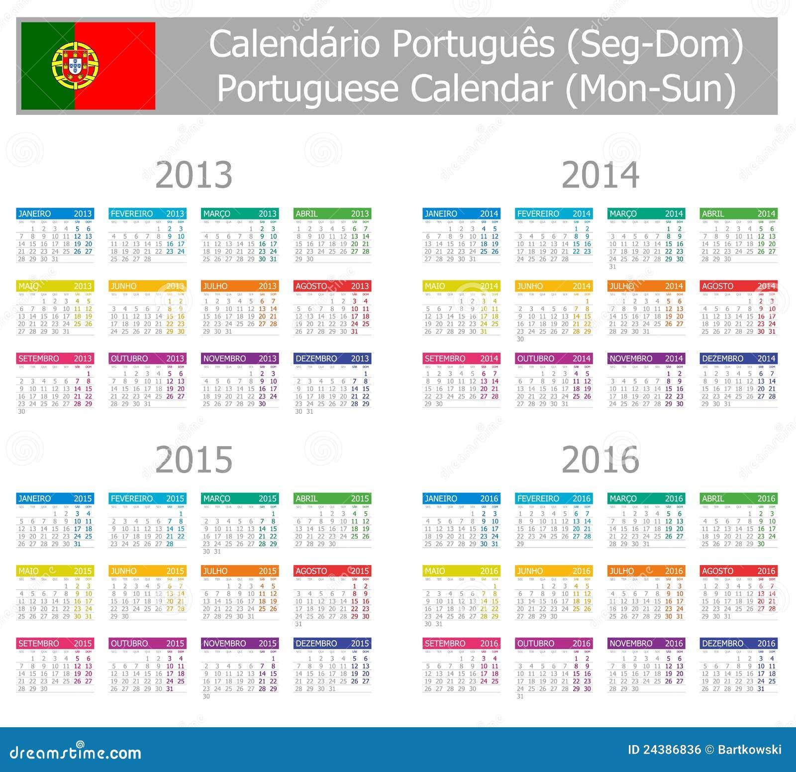 Calendário 2013-2016 Português Do Type-1 Segundo--Sun Imagem de ...