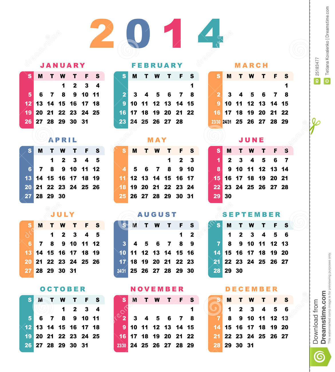 2014 Calendar with Week Numbers