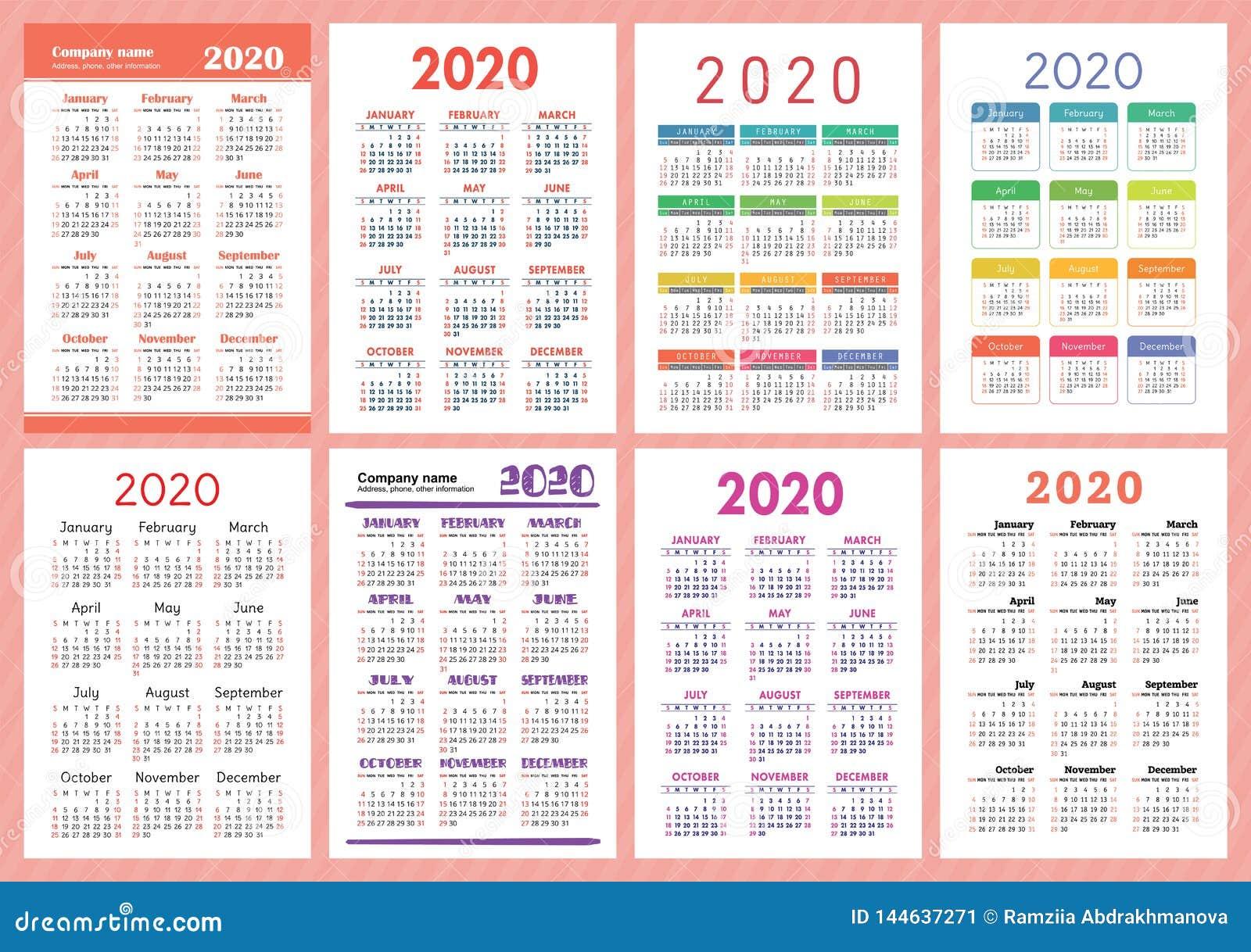 Calendario 2020 Semanas.Calendario 2020 Anos Colecao Do Molde Do Vetor Grupo Ingles