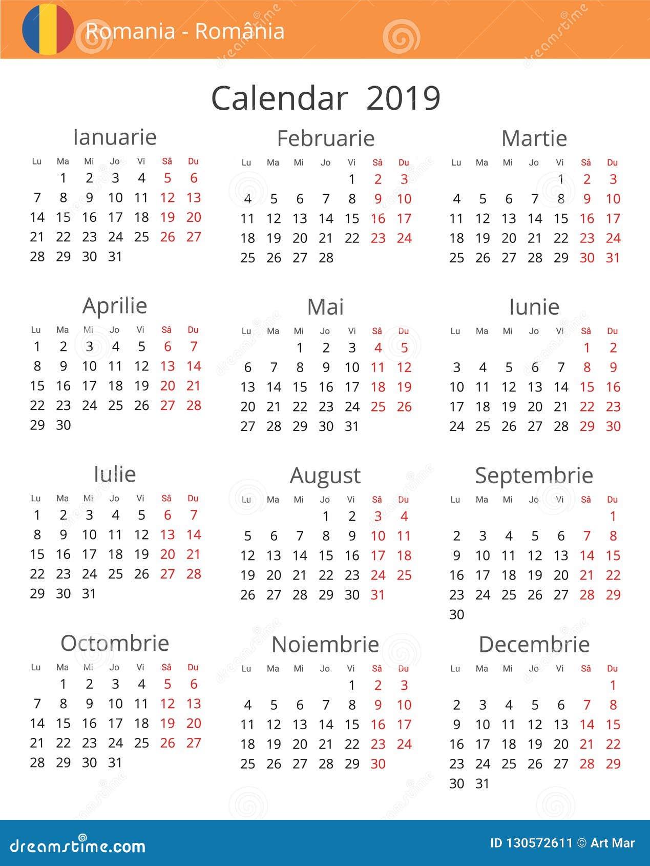 Calendario Romena 2019.Calendario 2019 Anos Para O Pais De Romenia Ilustracao Stock