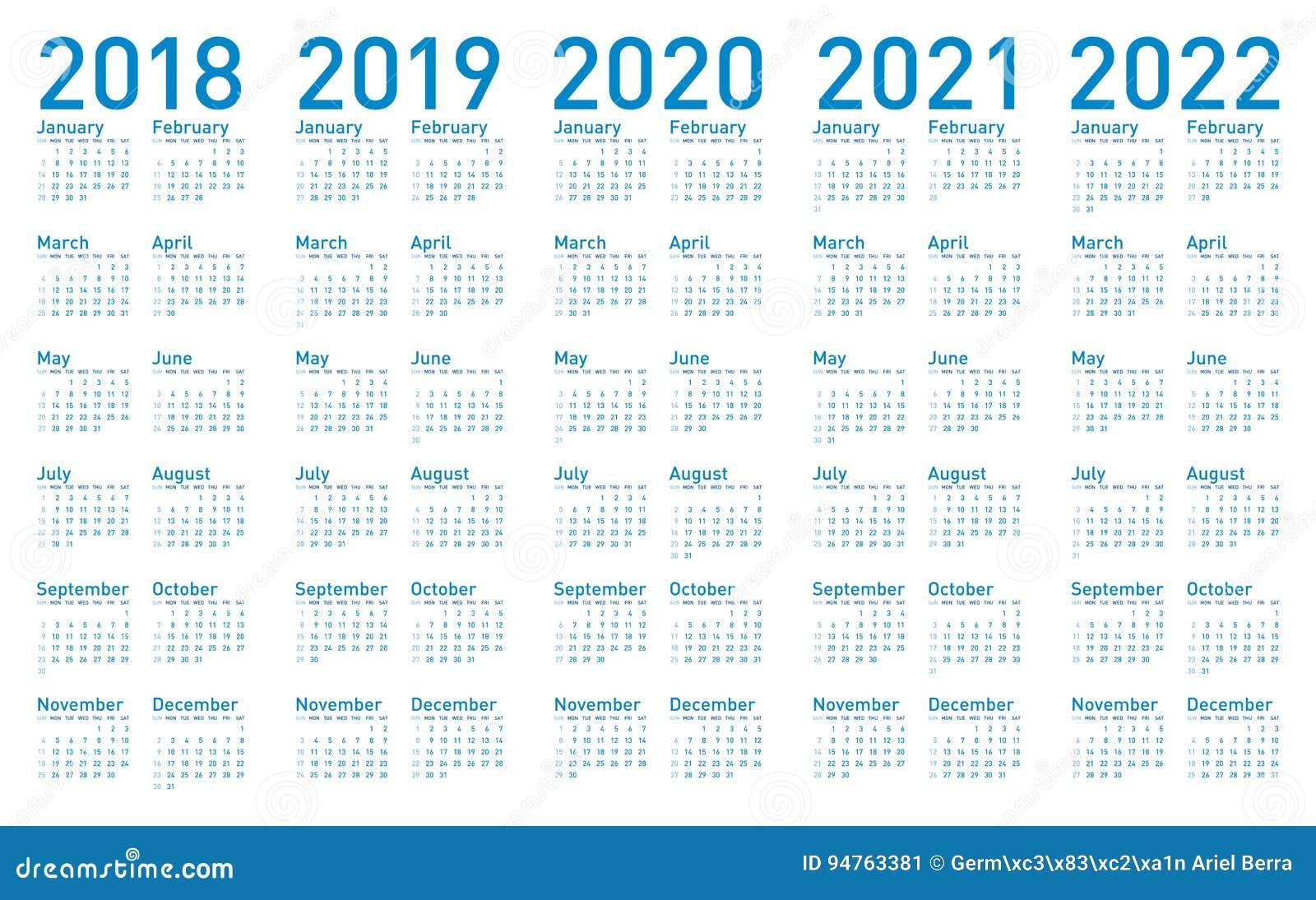 Calendário Azul Simples Pelos Anos 2018,2019, 2020, 2021 E ...