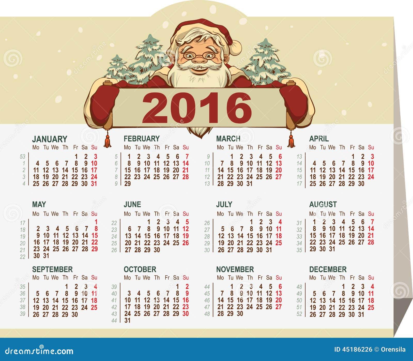 Ilustração do Vetor: Calendário 2016 Bandeira da terra arrendada de ...