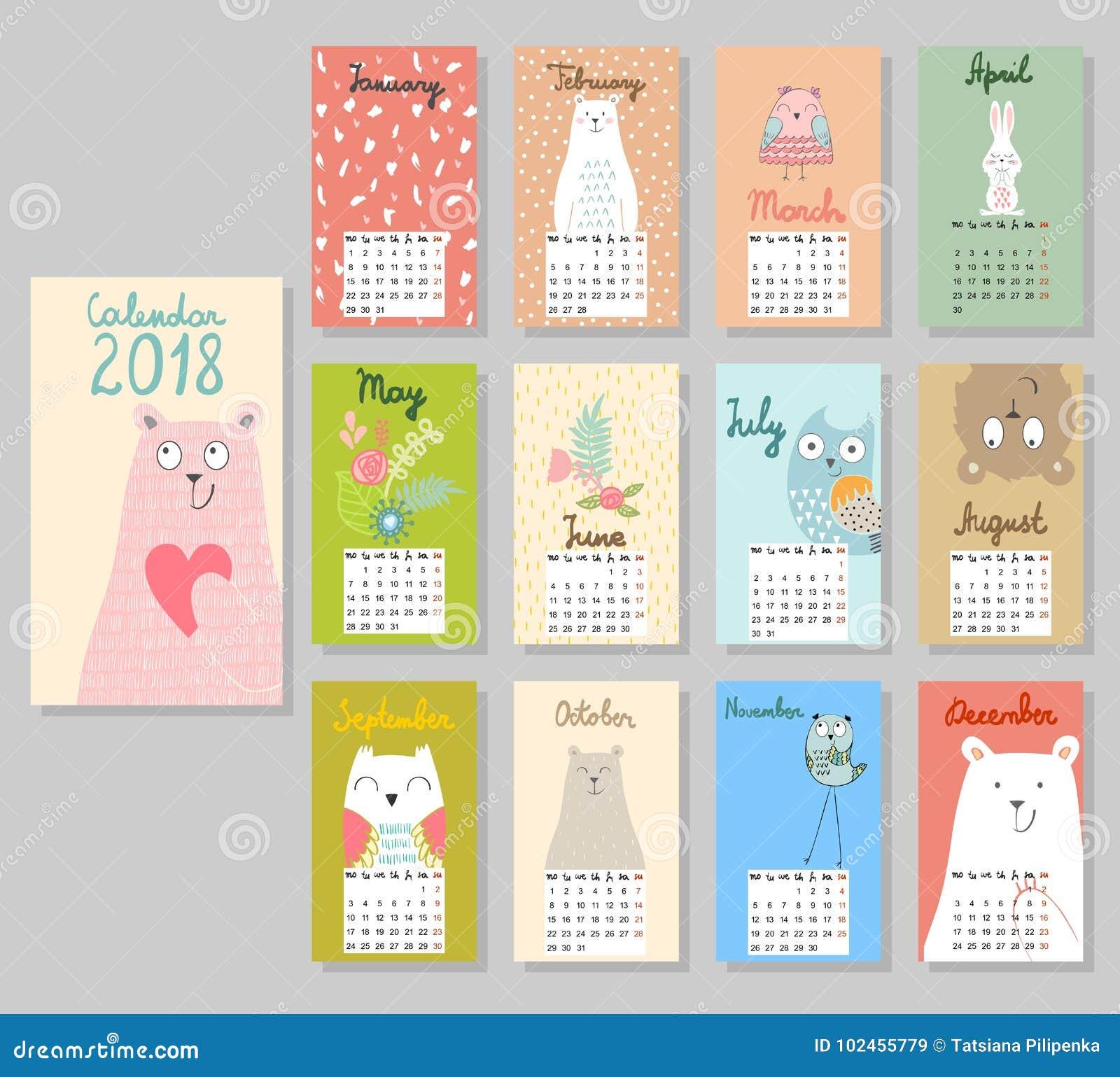 Calendário bonito 2018