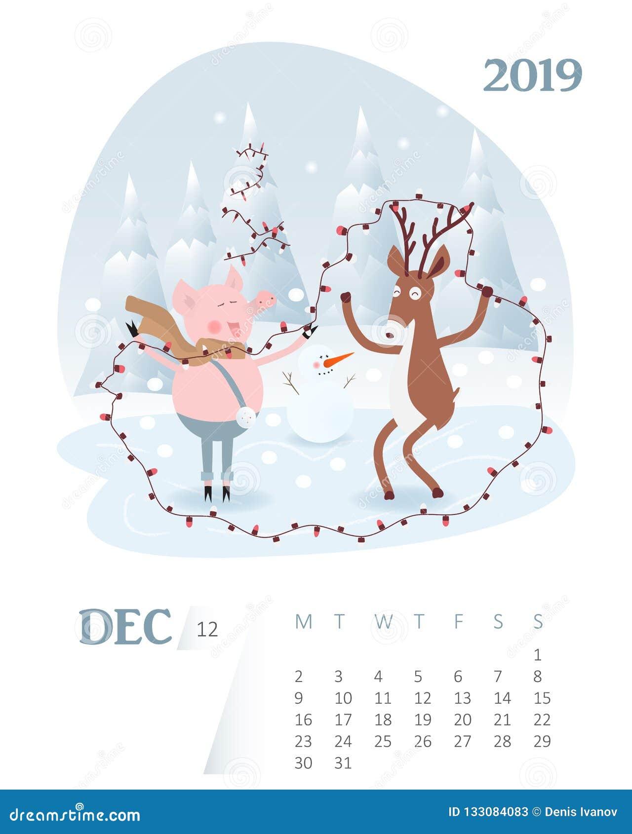 Calendario Dezembro 2019 Bonito.Calendario 2019 Calendario Bonito Dos Desenhos Animados Do