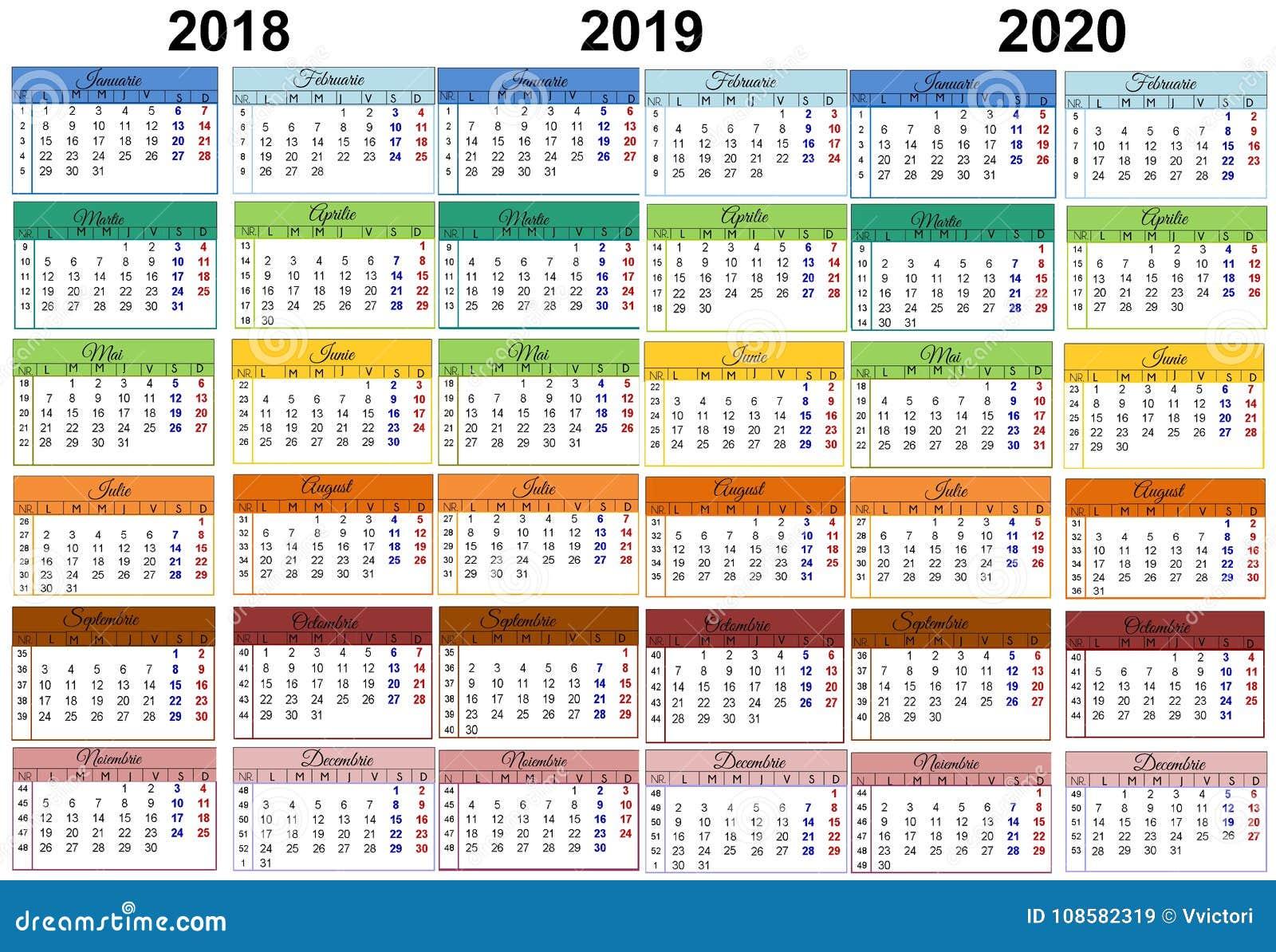 Calendario Romena 2019.Calendario Colorido 2018 Romanian 2019 2020 Ilustracao Stock