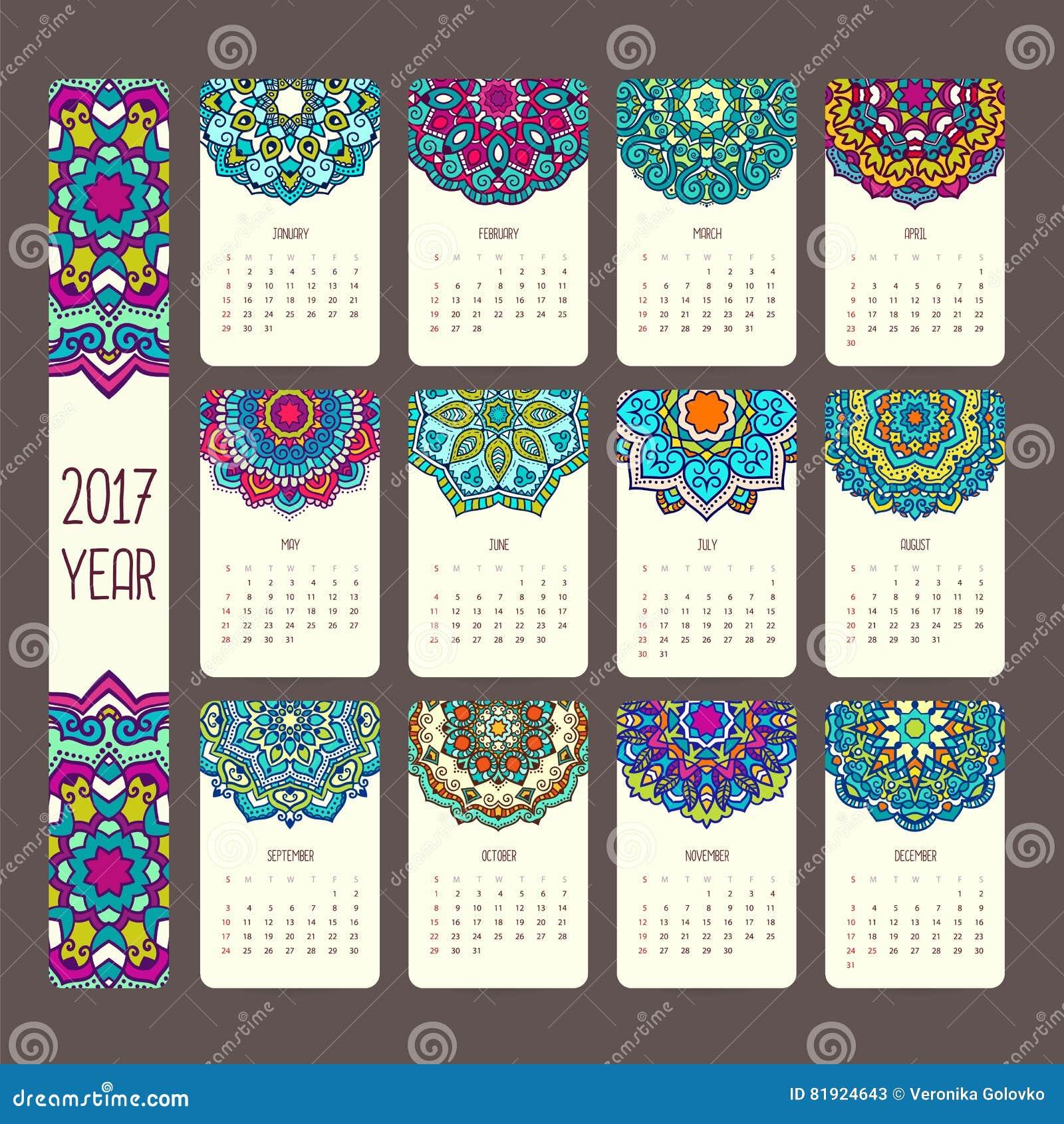 Calend rio 2017 com mandalas ilustra o do vetor imagem for Kalender design