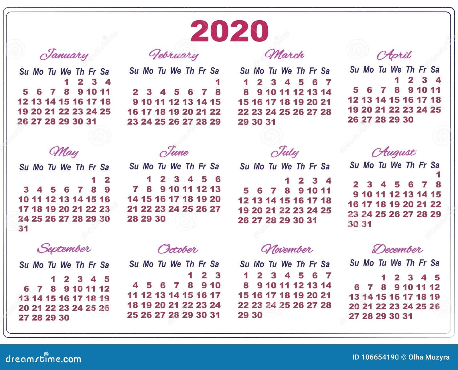 Calendario 2020 Com Feriados Para Impressao.Calendario 2020 Com Numeros Grandes Ilustracao Stock