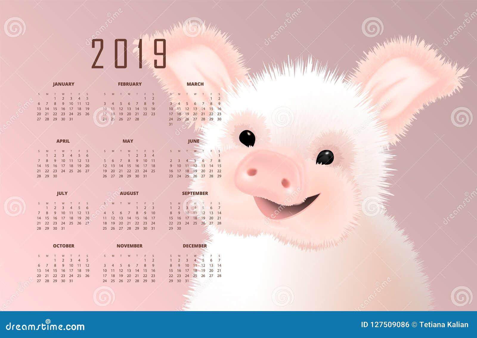 Calendário com o símbolo oriental de 2019 o porco Illustartion leitão pequeno bonito de sorriso feliz do vetor no fundo cor-de-ro