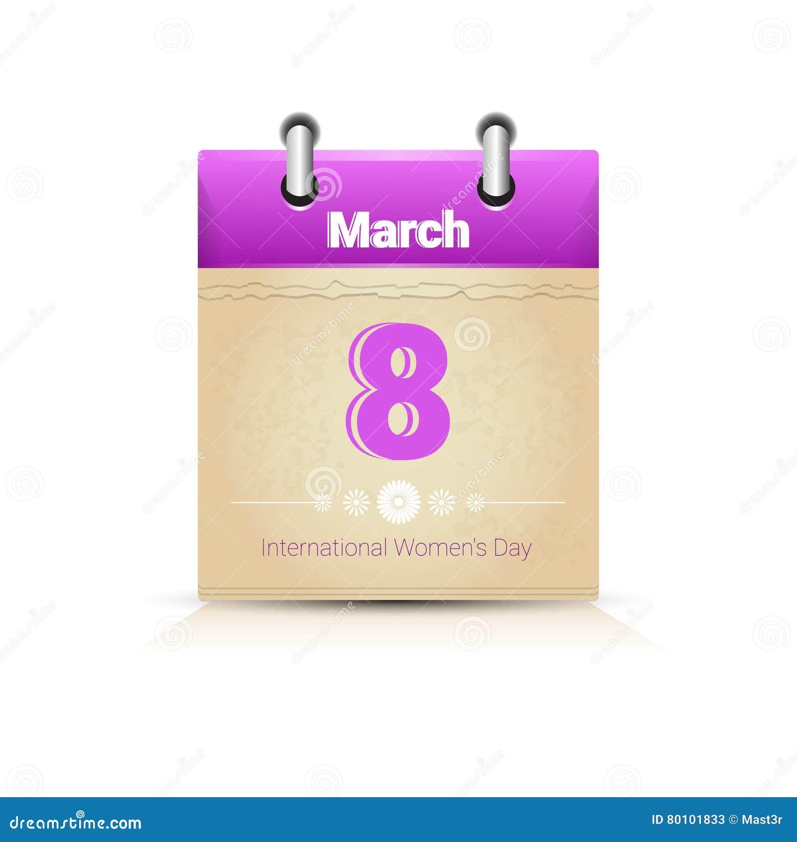 Calendário data página mulher dia o 8 de março